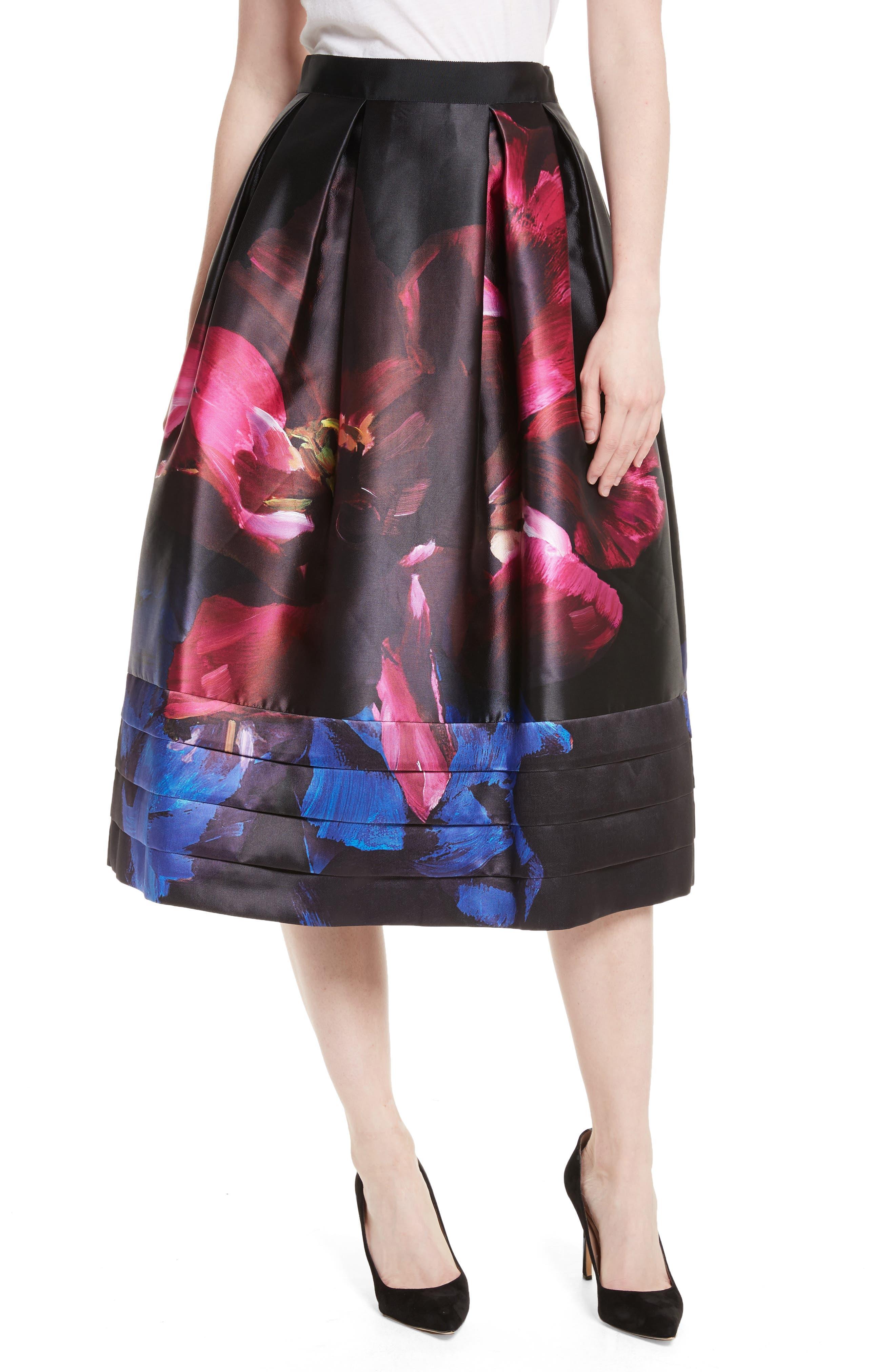 Nuala Impressionist Bloom Print Full Skirt,                             Main thumbnail 1, color,                             Black