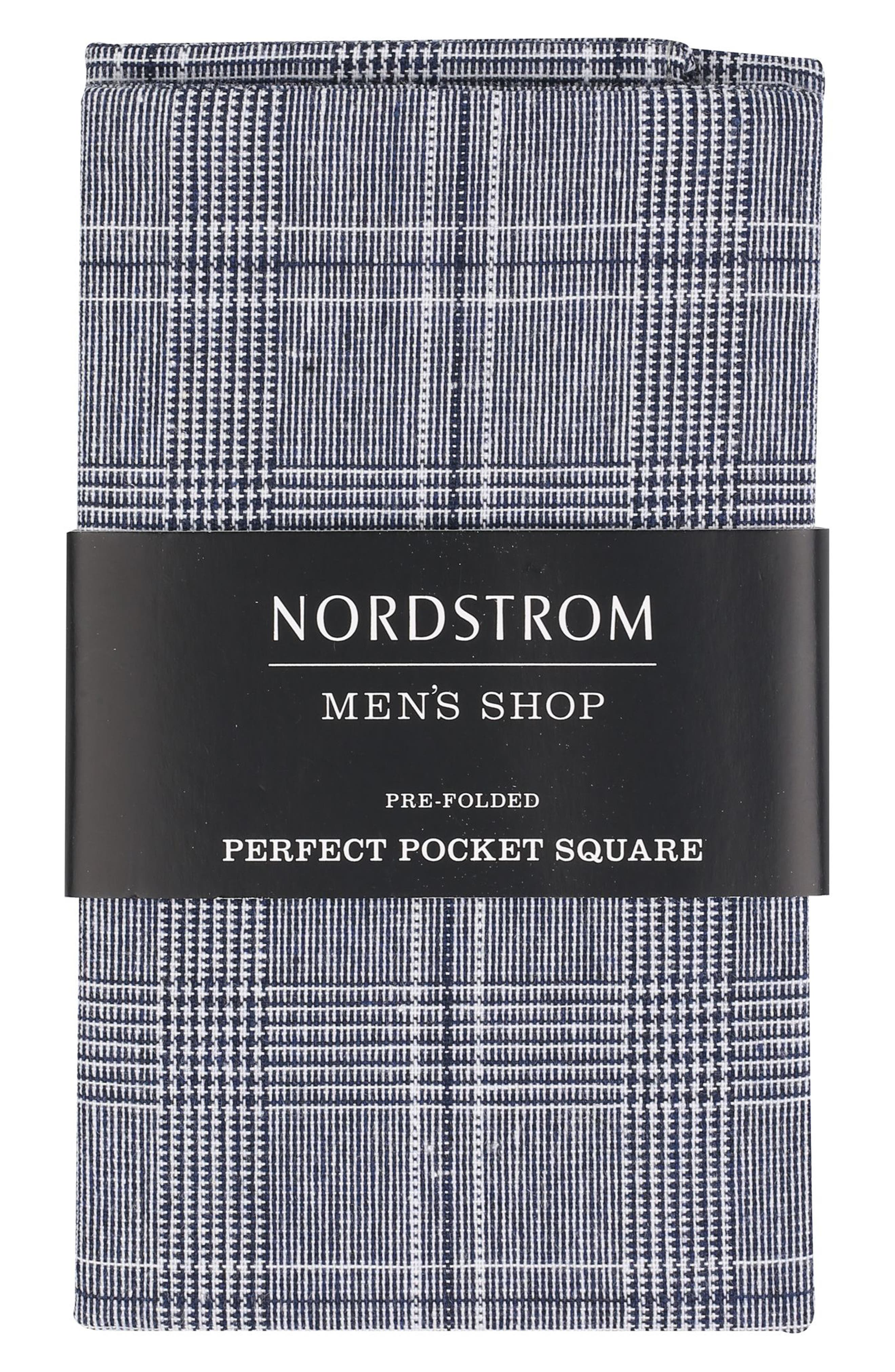 The Perfect Pocket Square,                         Main,                         color, Navy Plaid