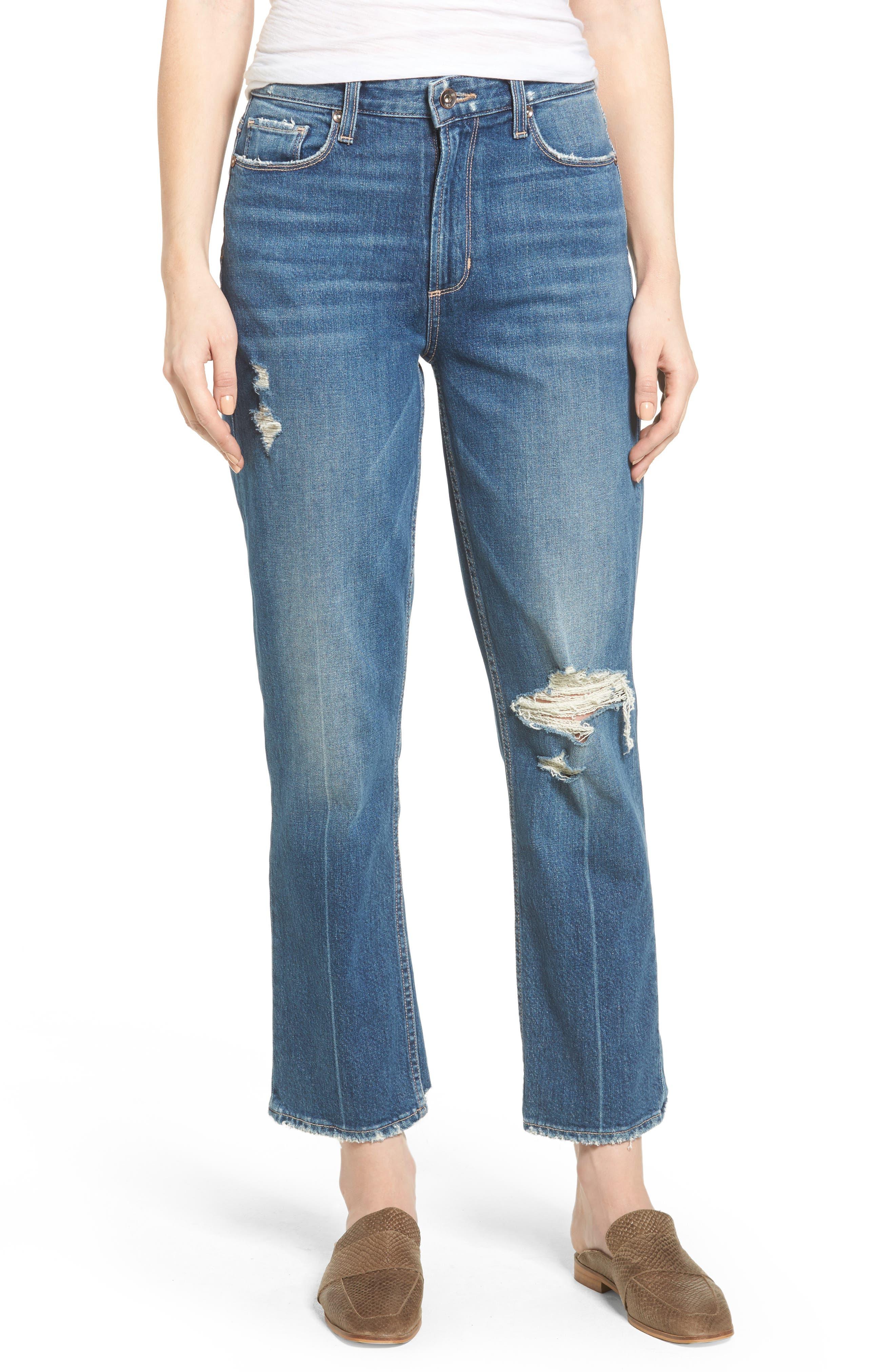 Main Image - PAIGE Vintage - Sarah High Waist Crop Straight Leg Jeans (Kellan Destructed)
