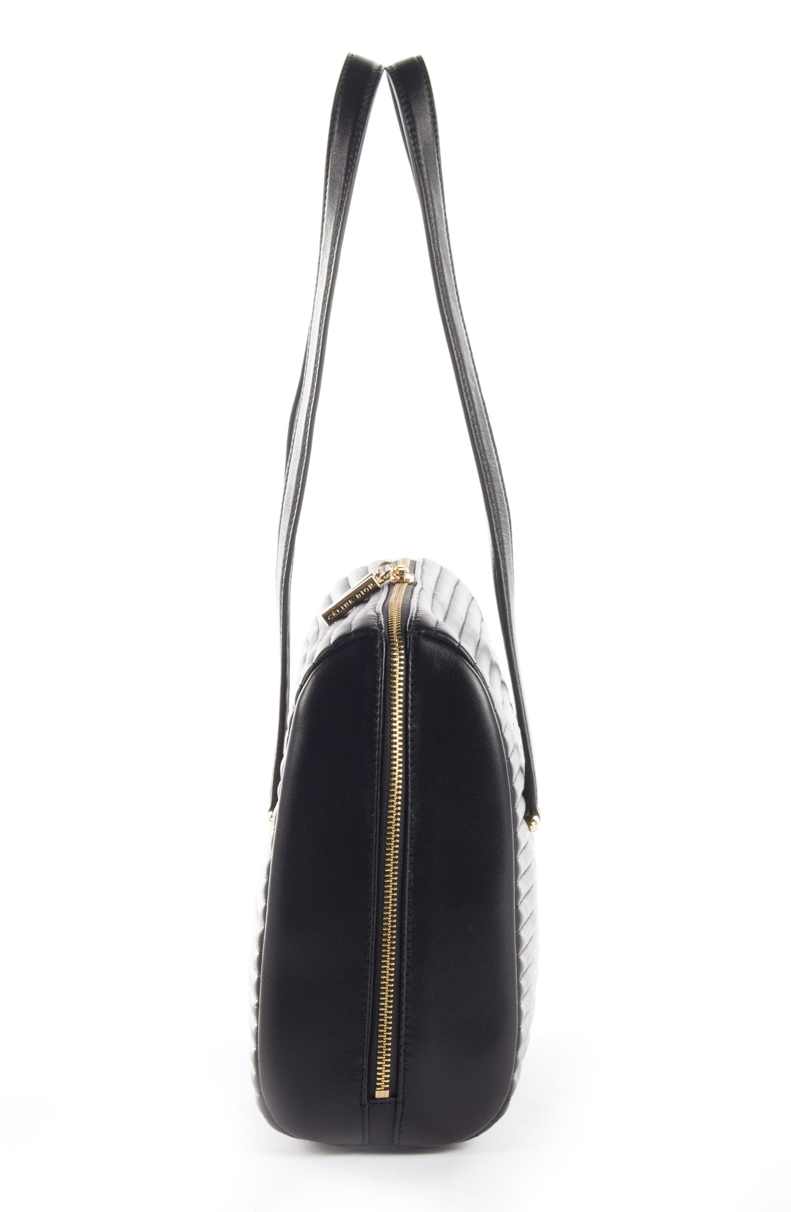 Céline Dion Vibrato Quilted Leather Satchel,                             Alternate thumbnail 3, color,                             Black