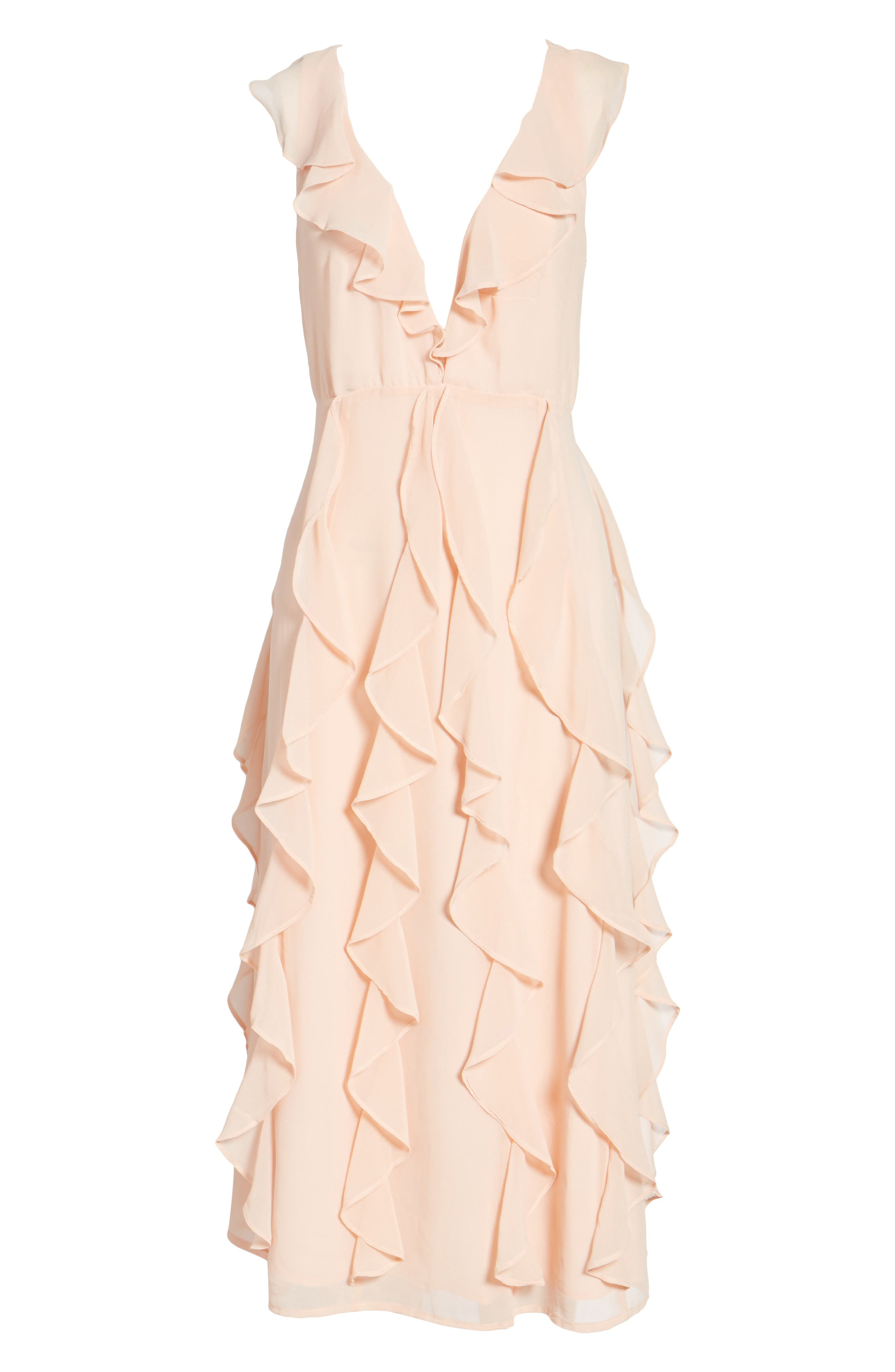 Ingrid Ruffle Chiffon Midi Dress,                             Alternate thumbnail 6, color,                             Cameo Rose