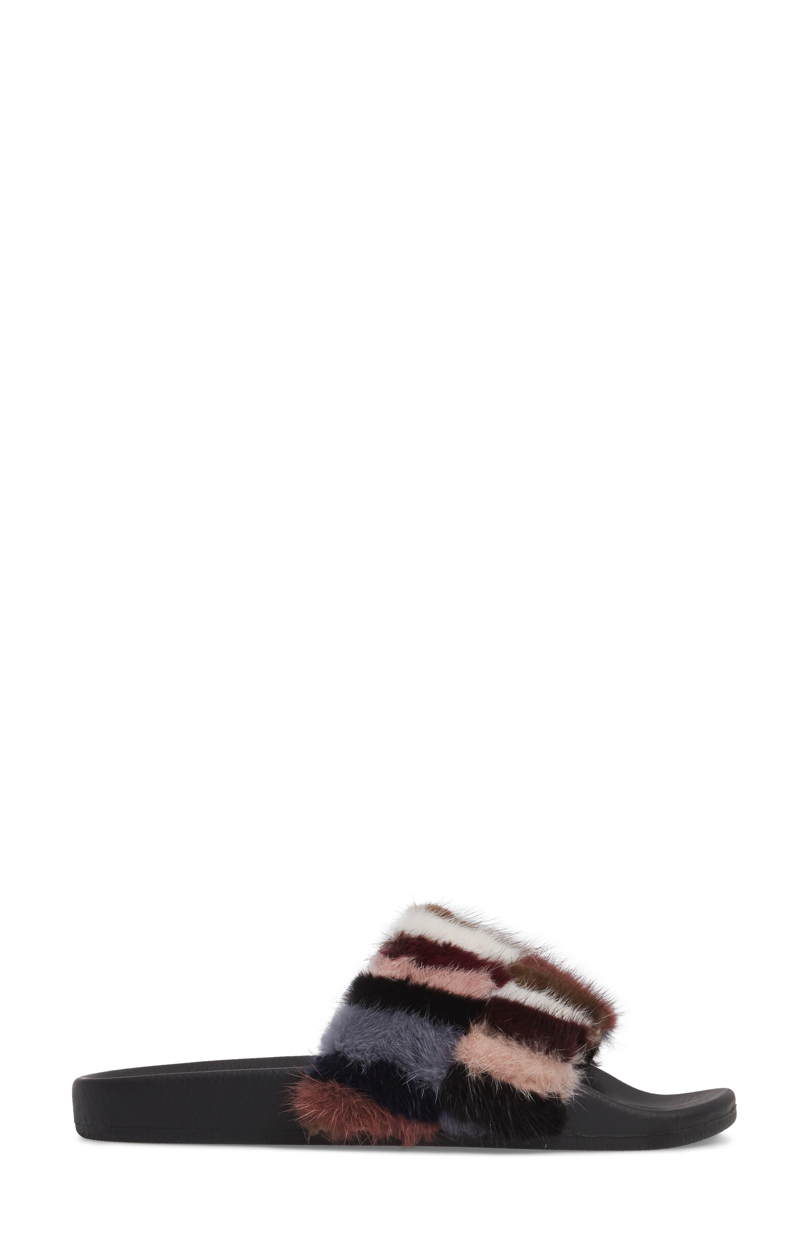 Sammi Genuine Fur Slide Sandal,                             Alternate thumbnail 3, color,                             Multi Fur