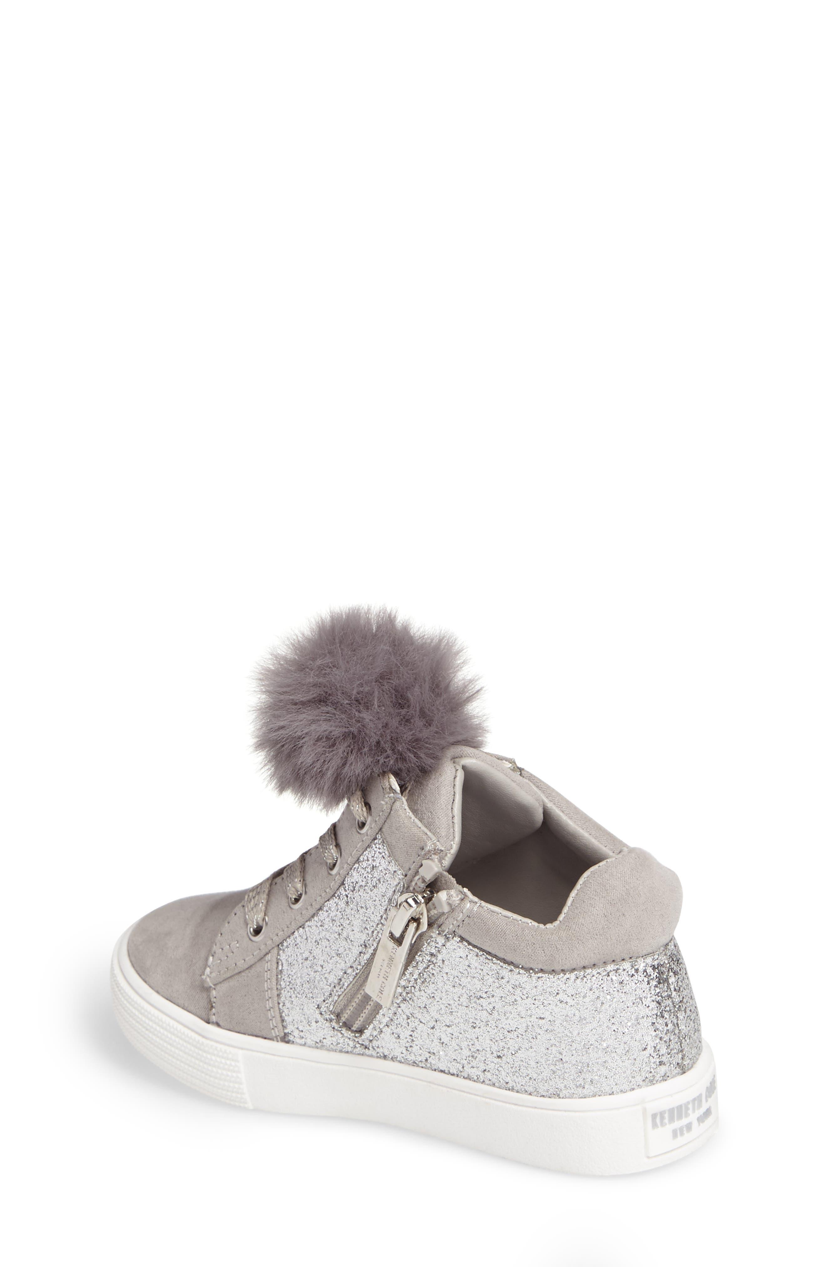 Kam Kid Faux Fur Glitter Sneaker,                             Alternate thumbnail 2, color,                             Light Grey