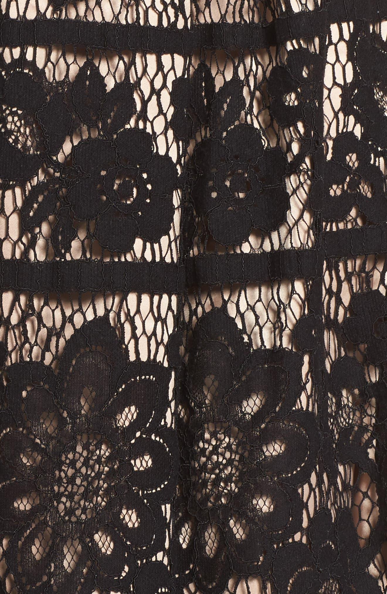 Pleated Lace Skirt,                             Alternate thumbnail 5, color,                             Black/ Nude