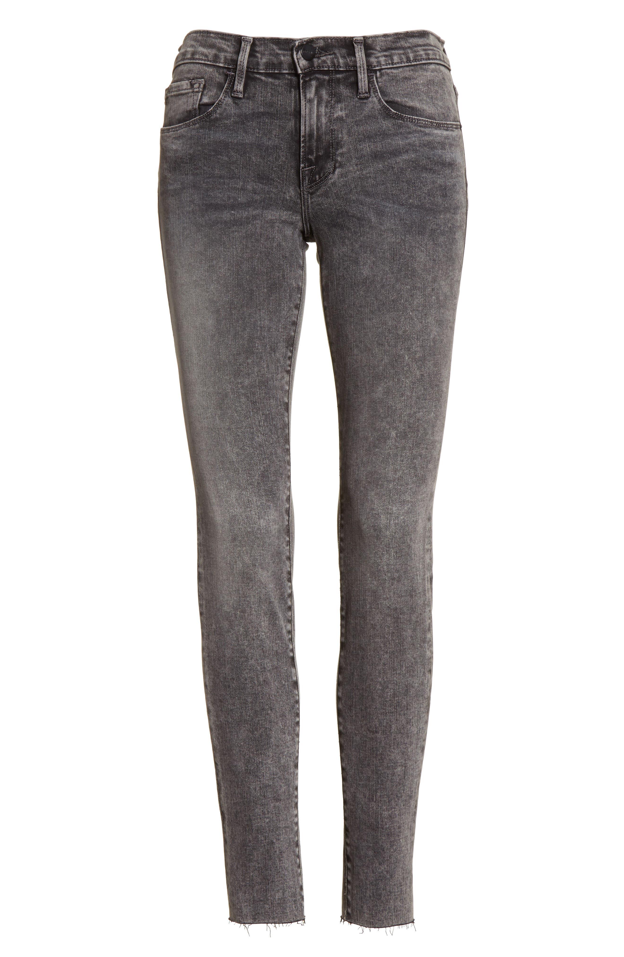 Alternate Image 7  - FRAME Le Skinny de Jeanne Raw Edge Skinny Jeans (Bennington)
