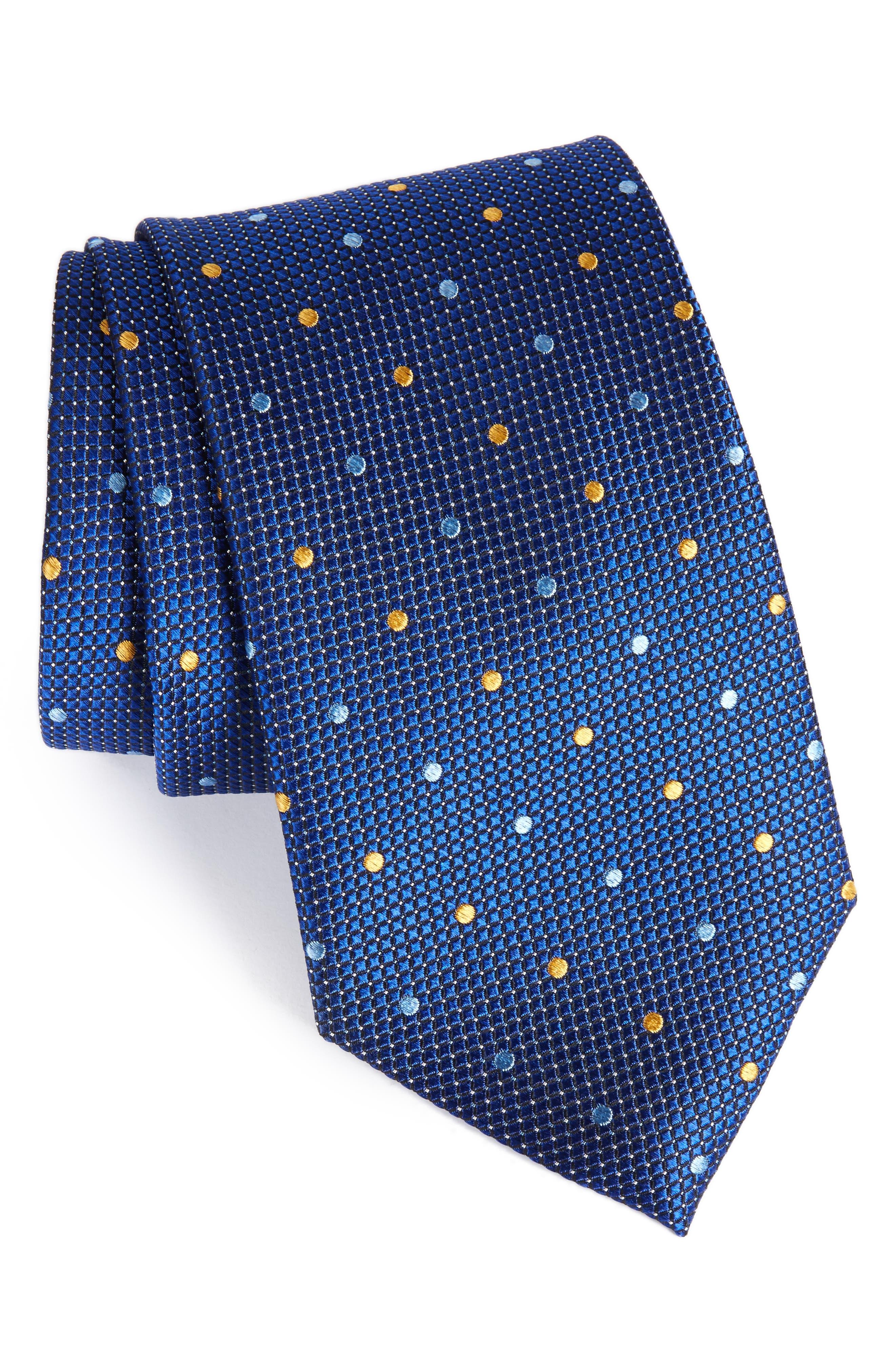 Graphic Dots Silk Tie,                         Main,                         color, Navy