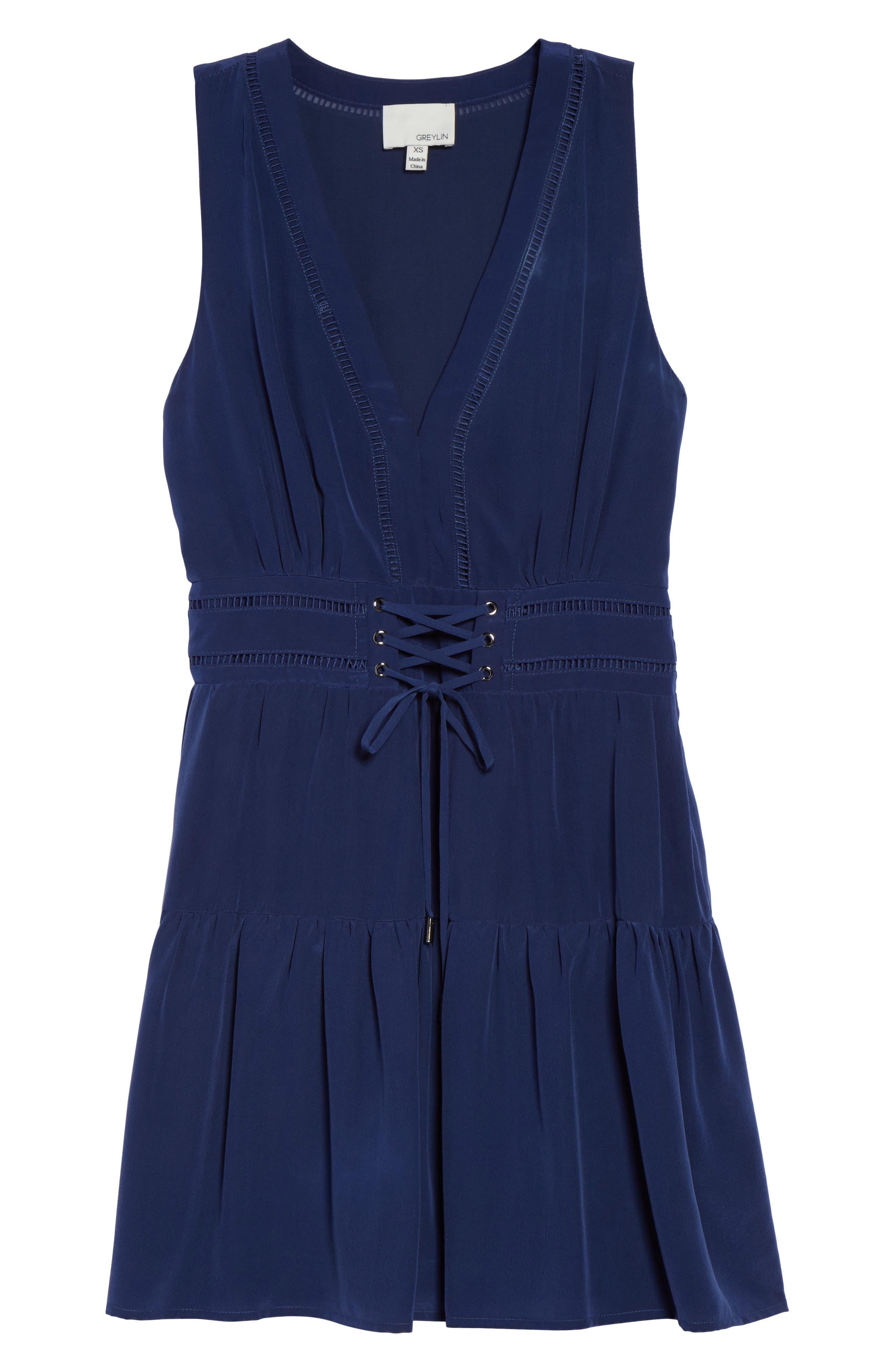 Bilson Fit & Flare Silk Dress,                             Alternate thumbnail 7, color,                             Marine