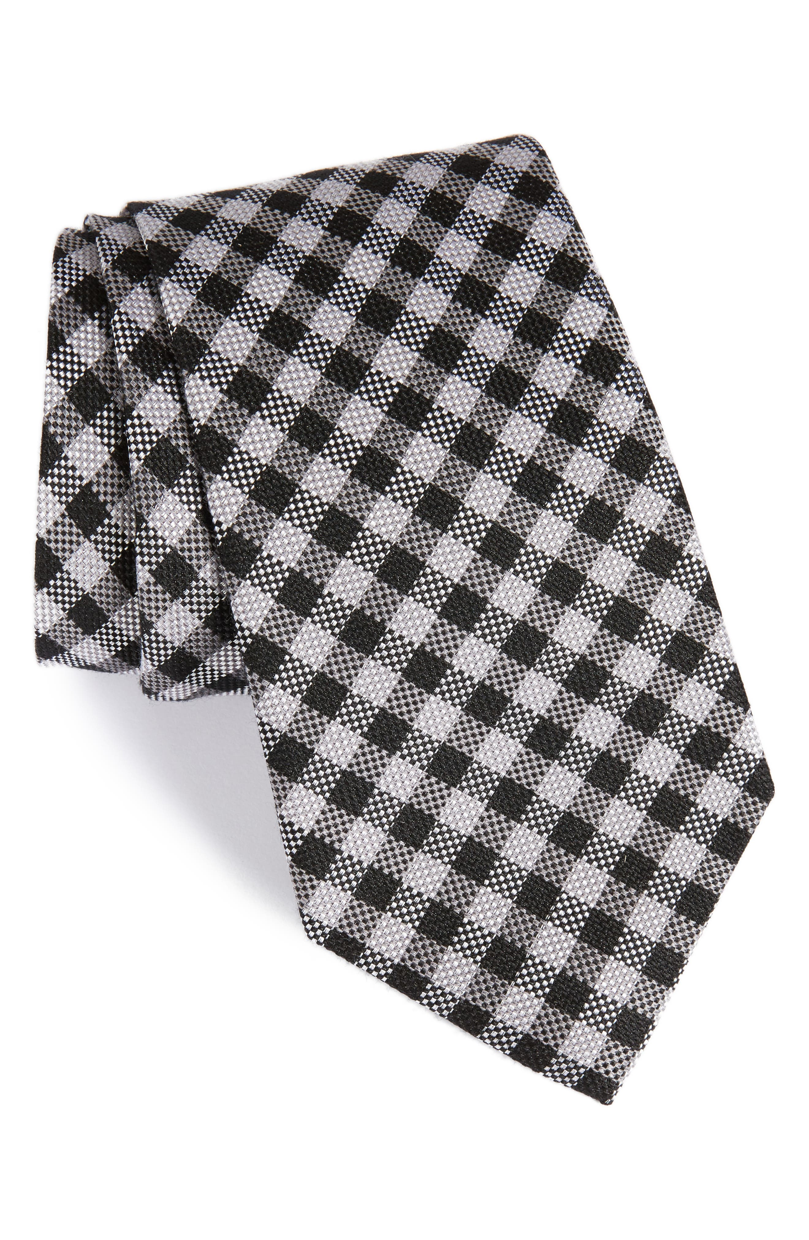 NORDSTROM MENS SHOP Check Silk & Wool Tie