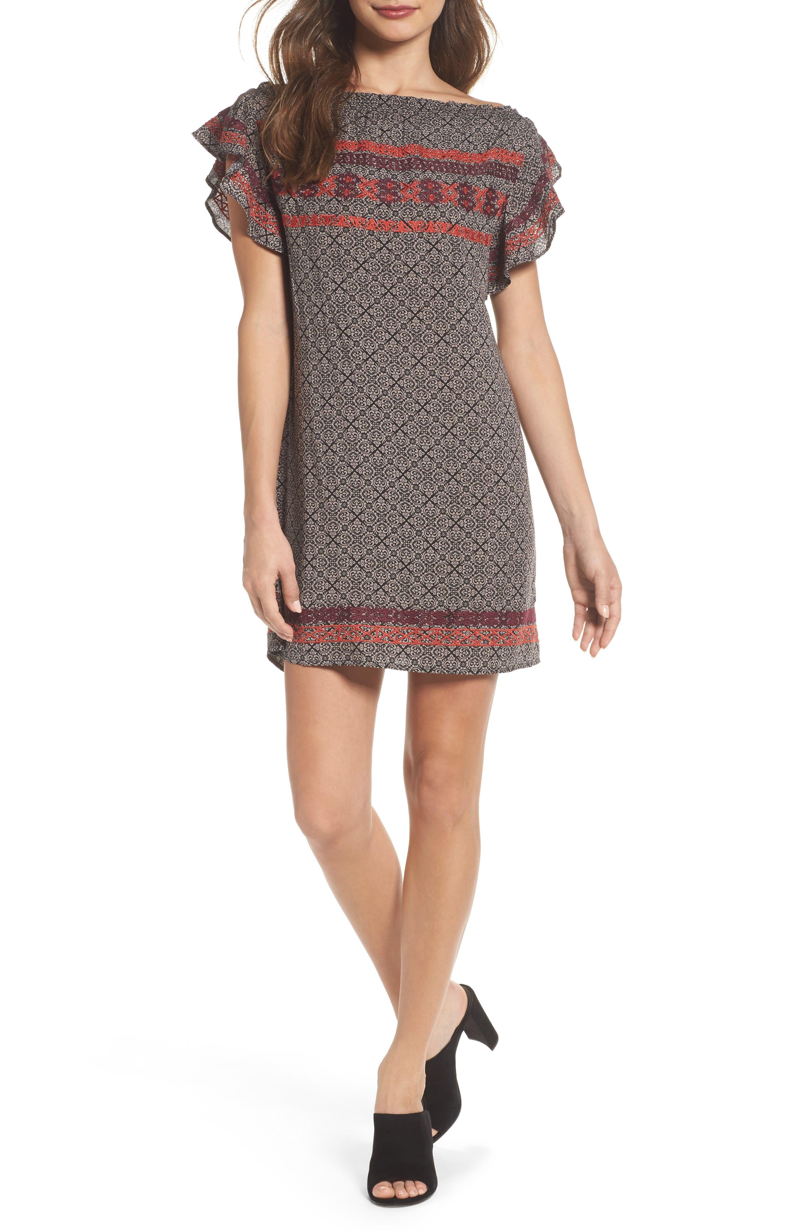 THML Flutter Sleeve Shift Dress