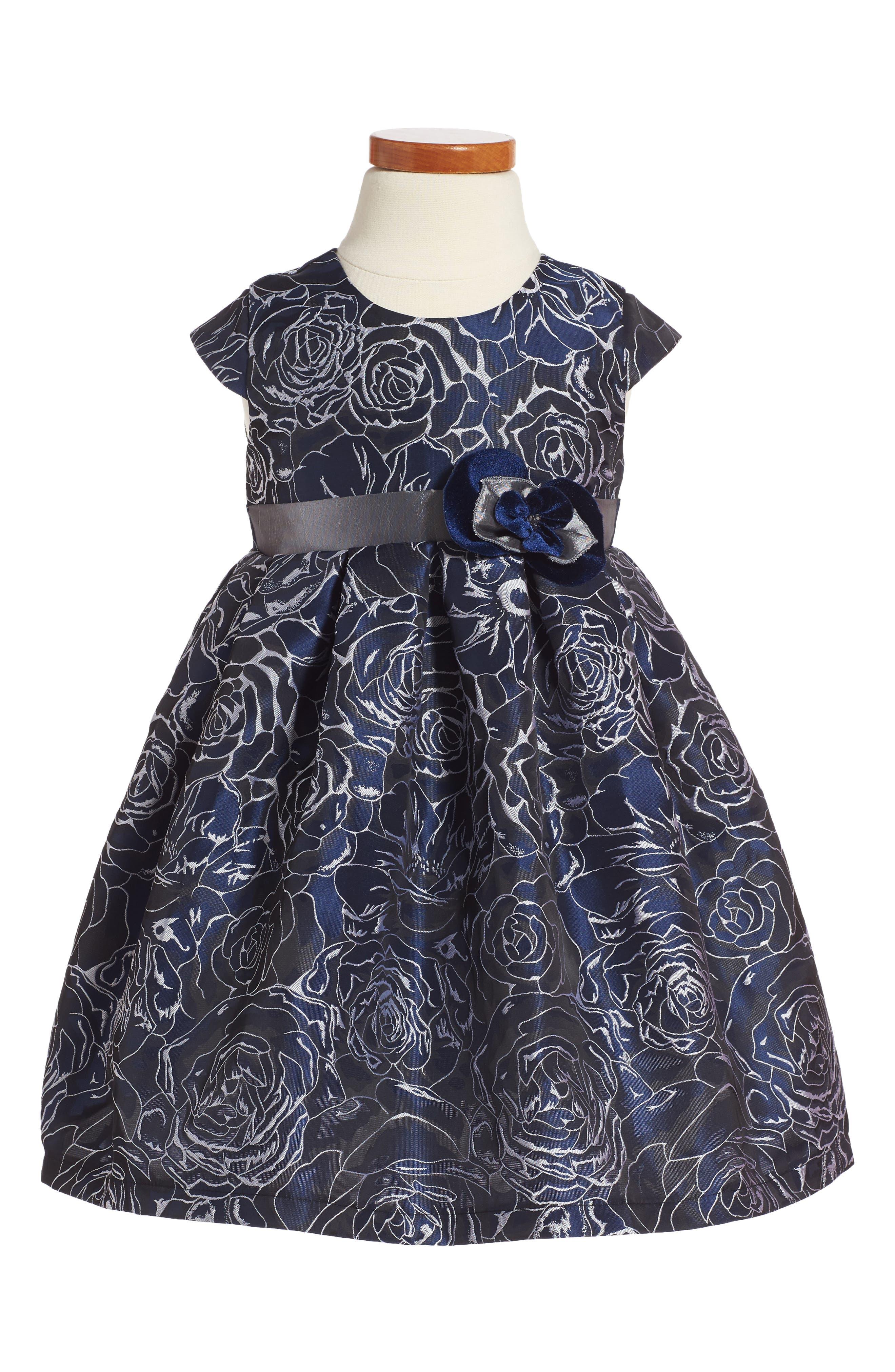 Floral Jacquard Dress,                         Main,                         color, Navy