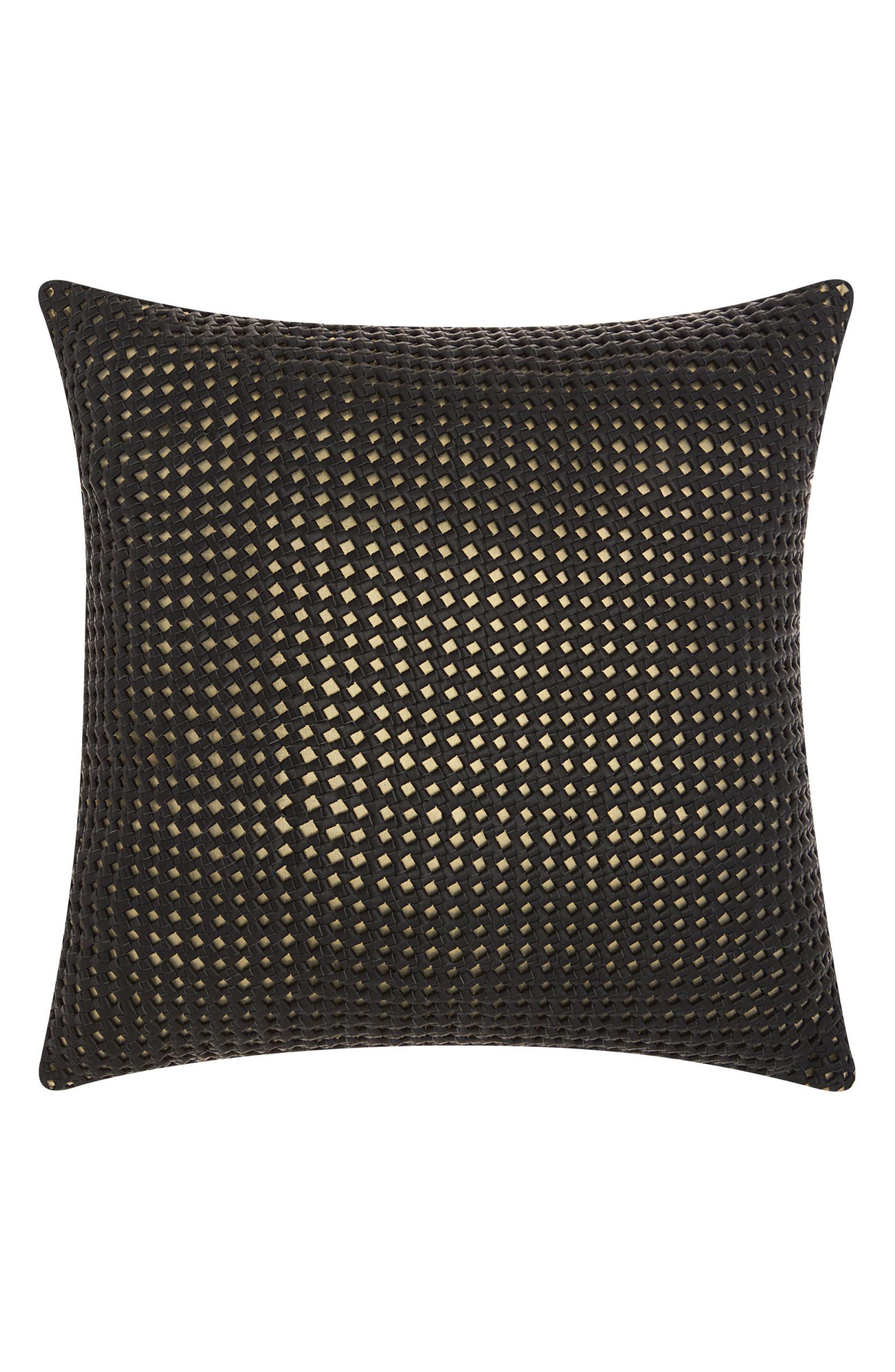 Woven Leather Accent Pillow,                         Main,                         color, Black