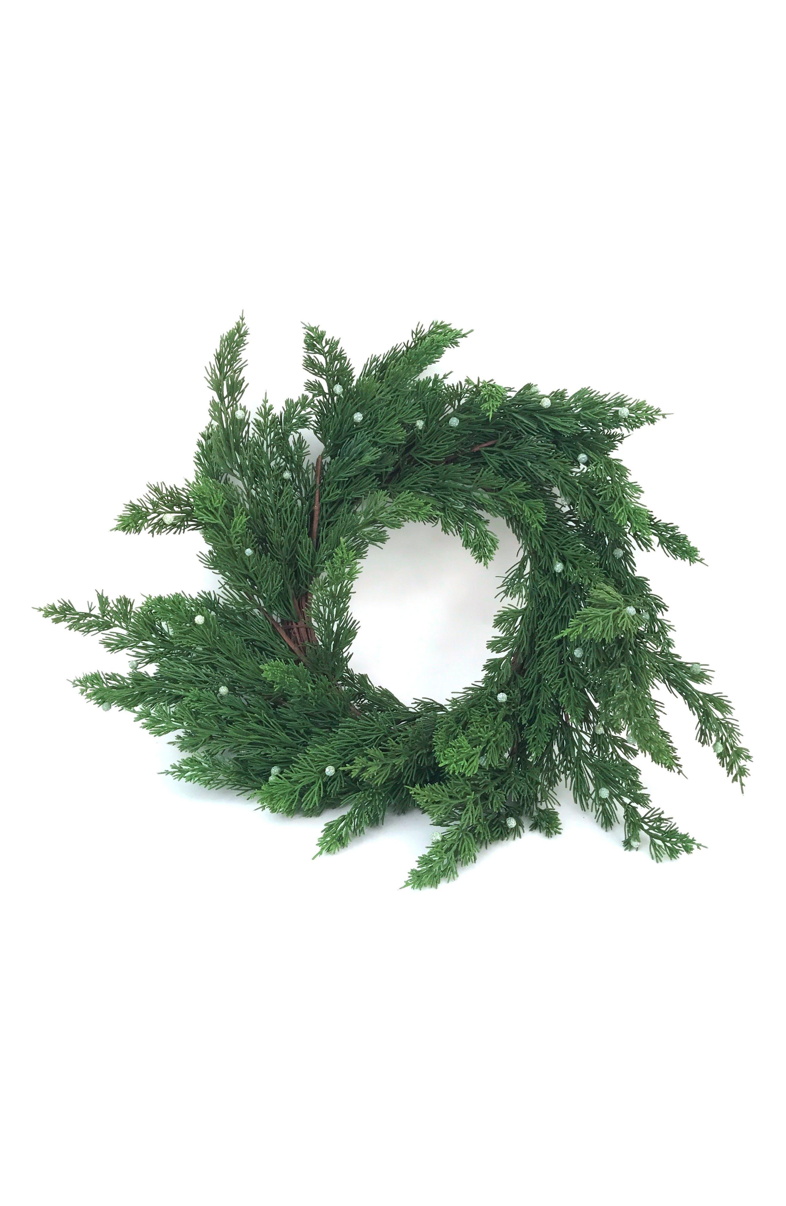 Pine Wreath with Juniper Berries,                         Main,                         color, Green