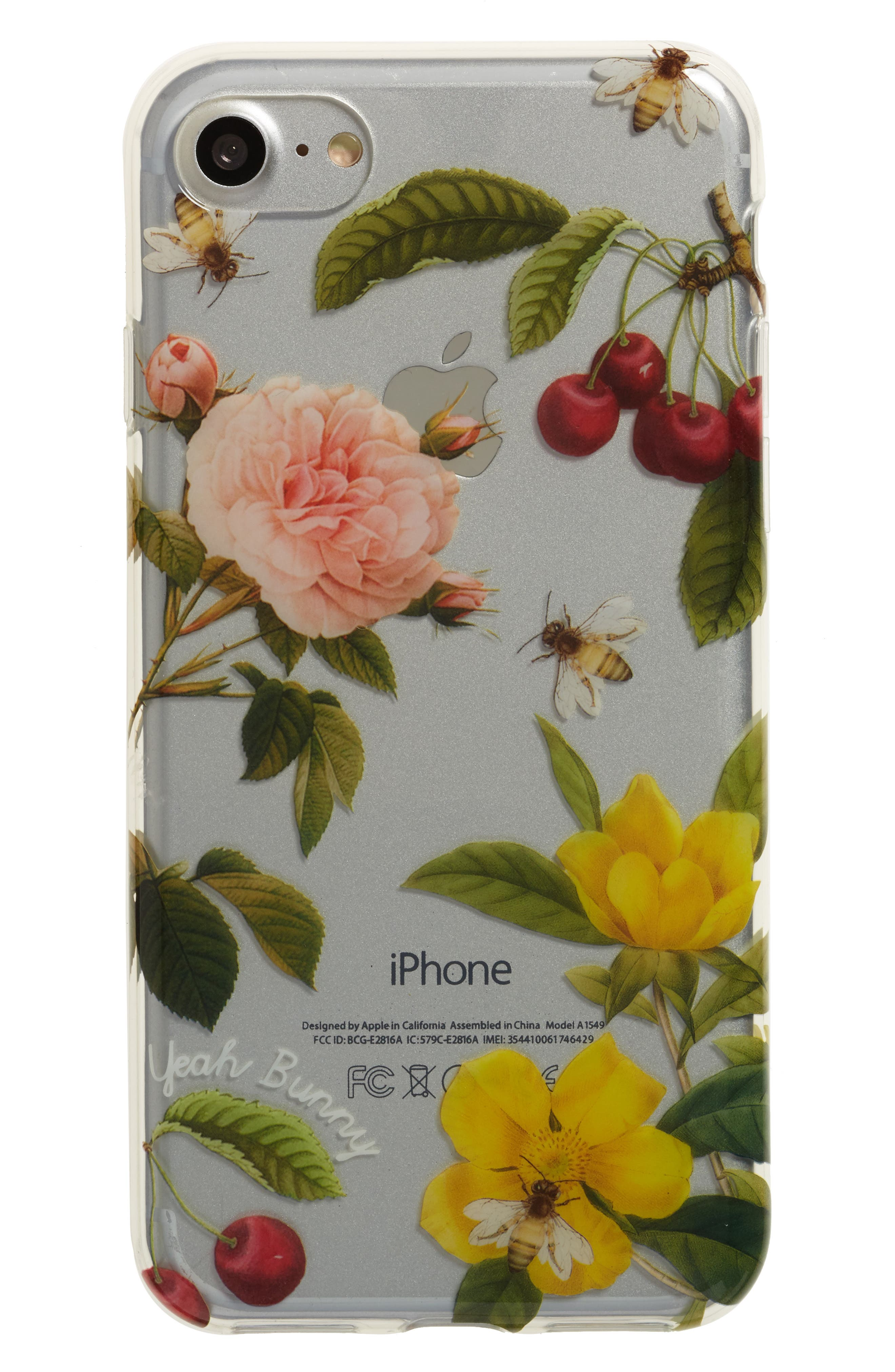 Cherry Blossom iPhone 7 Case,                         Main,                         color, Clear/ Yellow