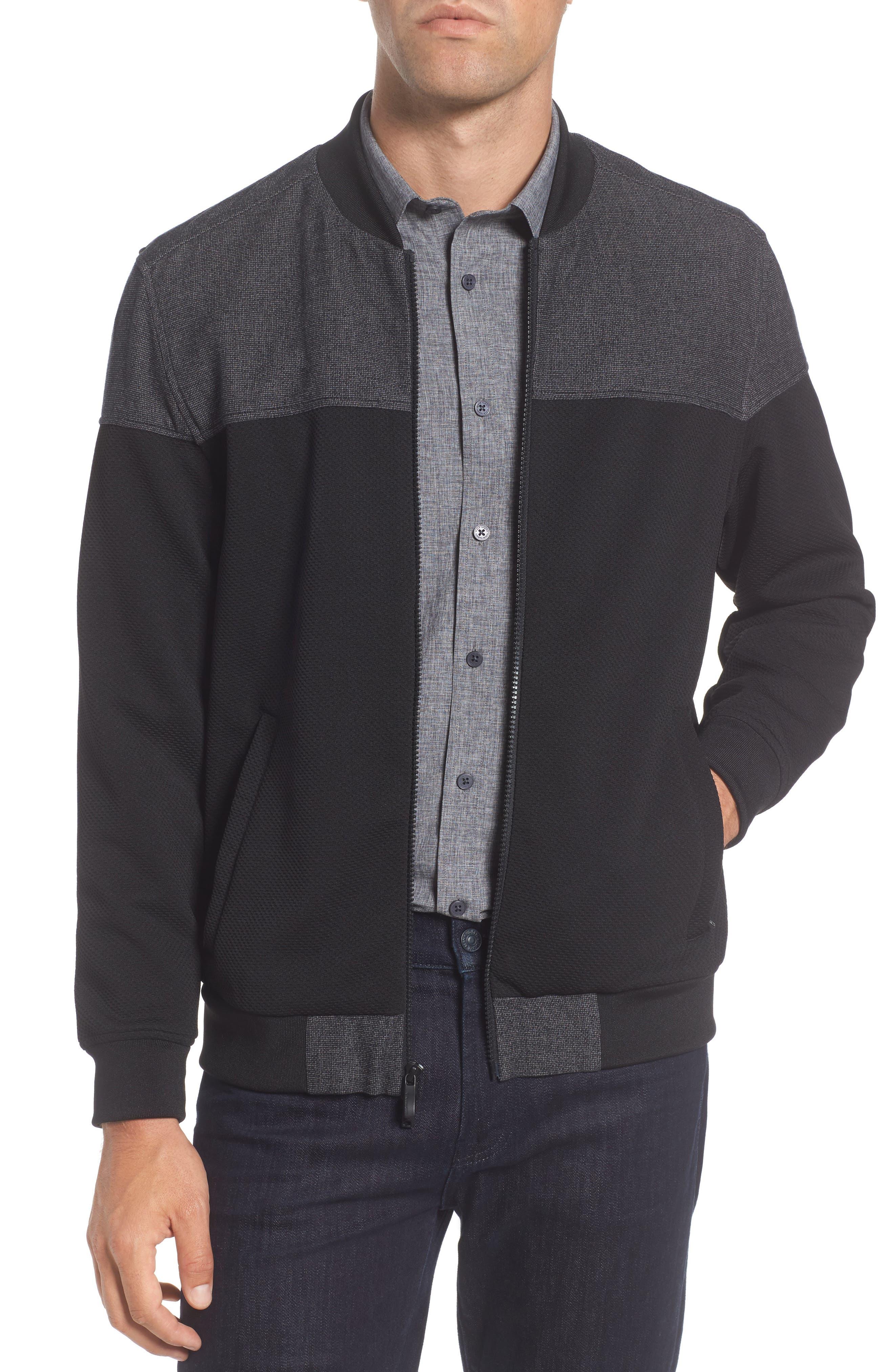 Mixed Media Bomber Jacket,                         Main,                         color, Black Mesh Combo