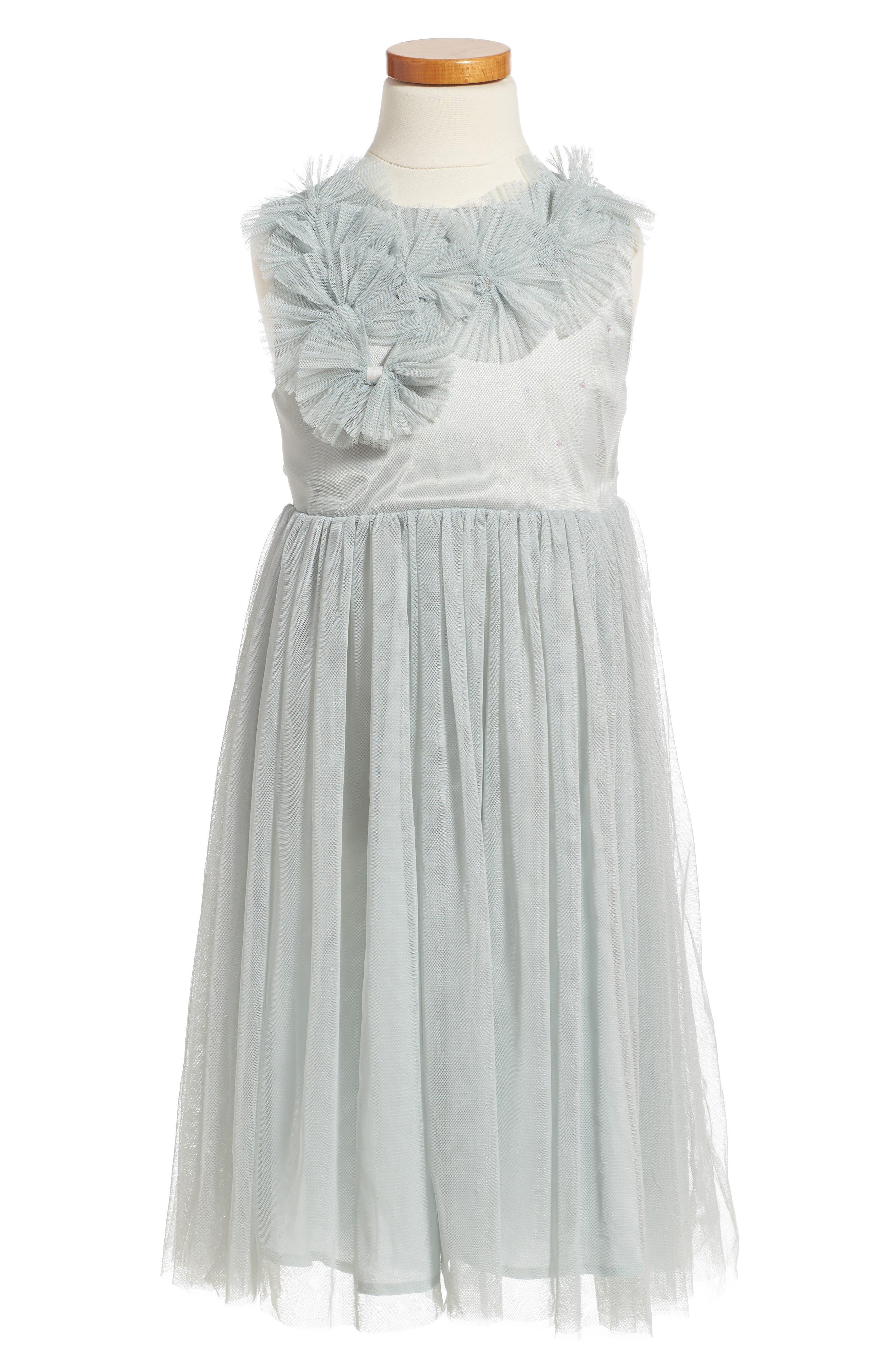Sleeveless Tulle Dress,                         Main,                         color, Mint