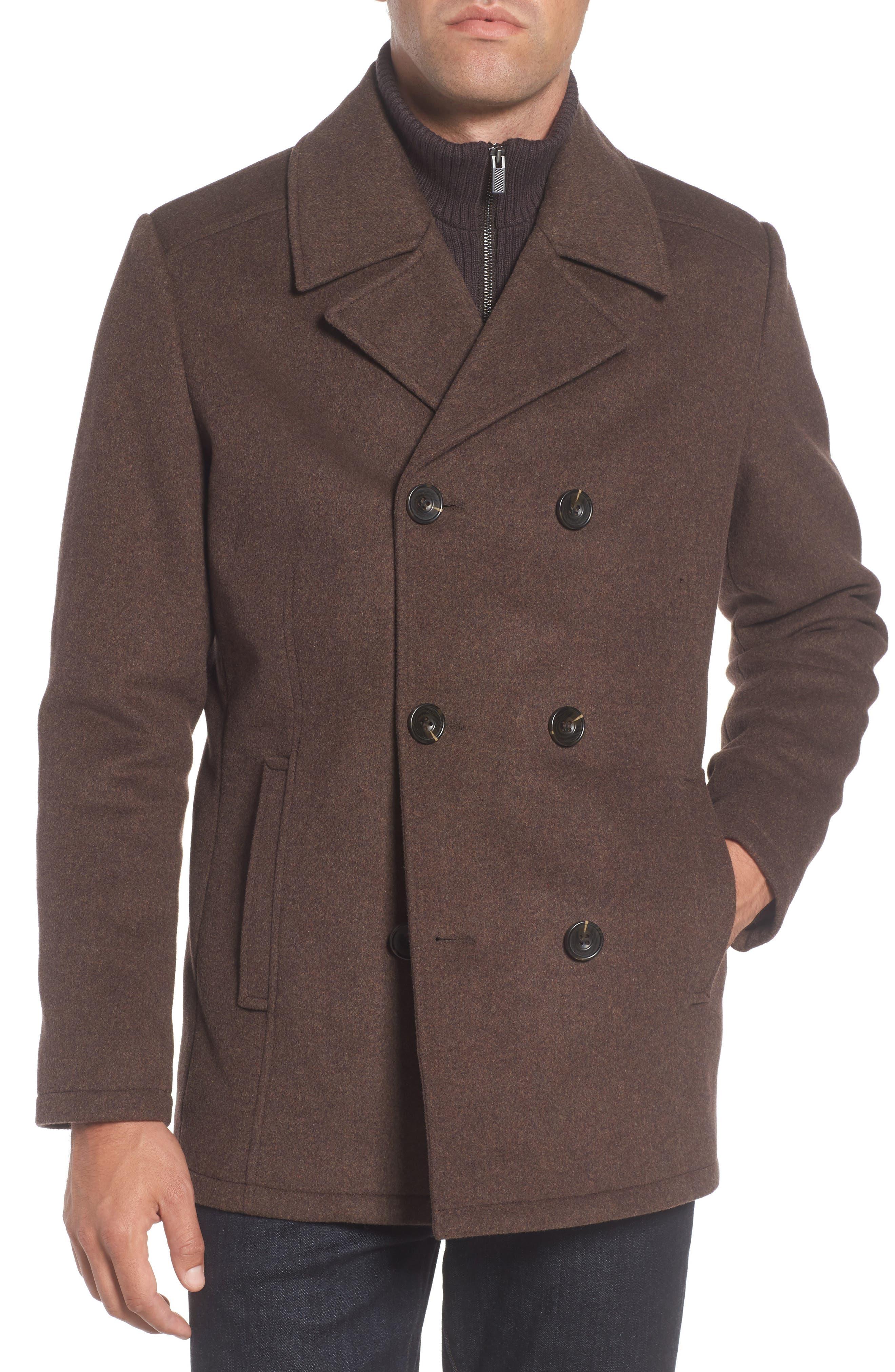 Wool Blend Peacoat,                             Alternate thumbnail 4, color,                             Medium Brown