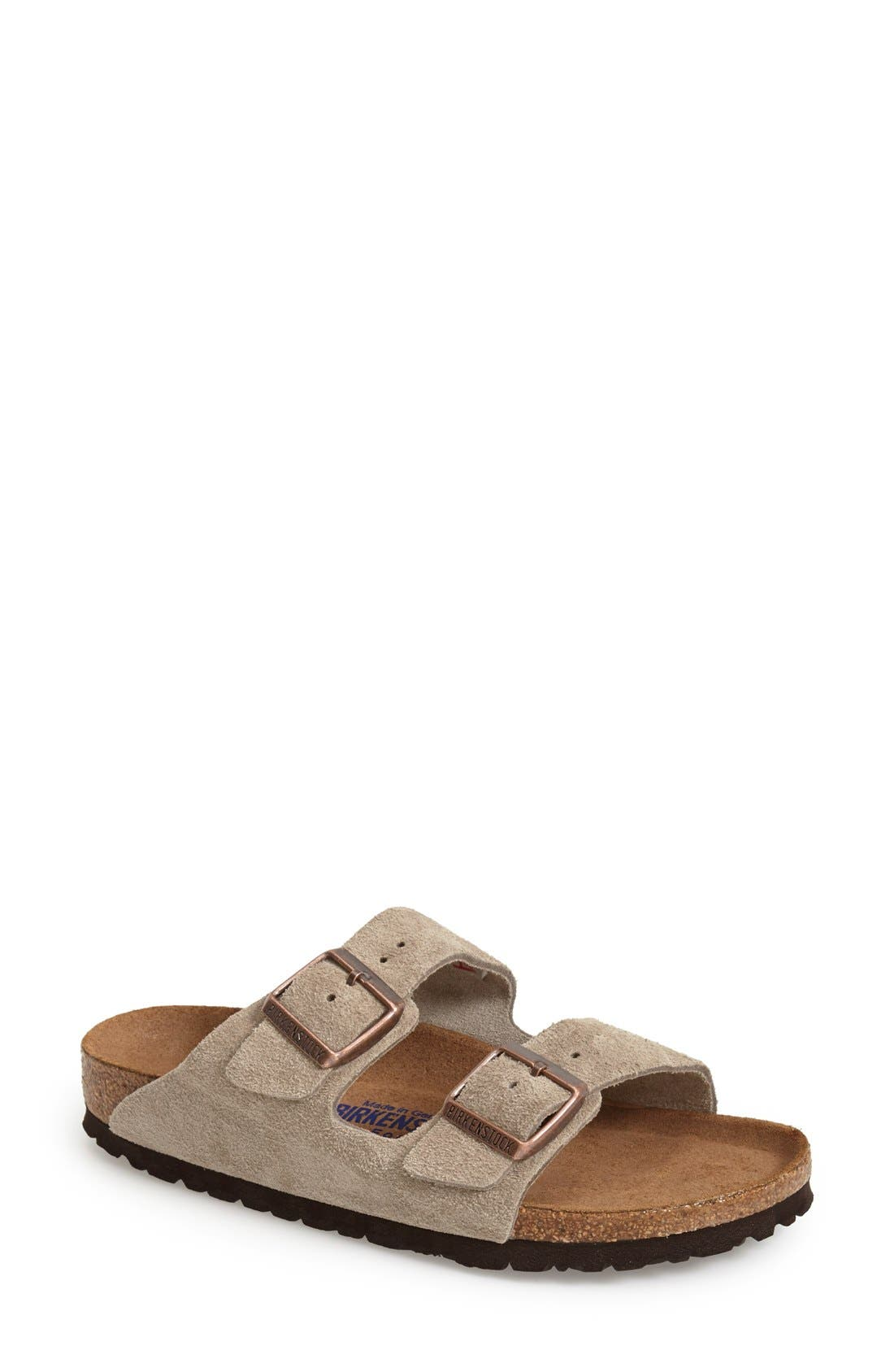 'Arizona' Soft Footbed Suede Sandal,                             Main thumbnail 1, color,                             Taupe Suede