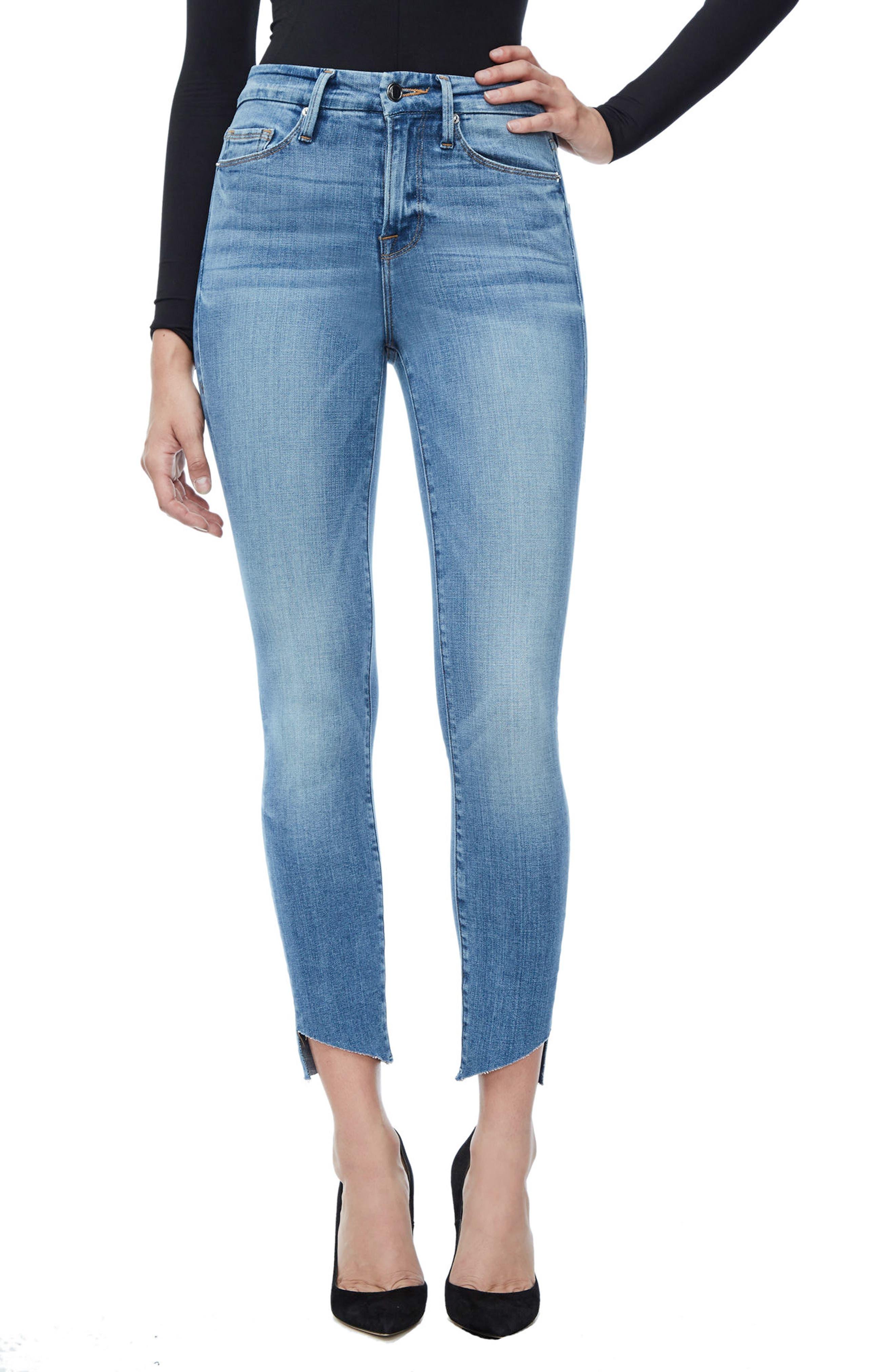 GOOD AMERICAN Good Legs High Waist Cascade Hem Skinny Jeans