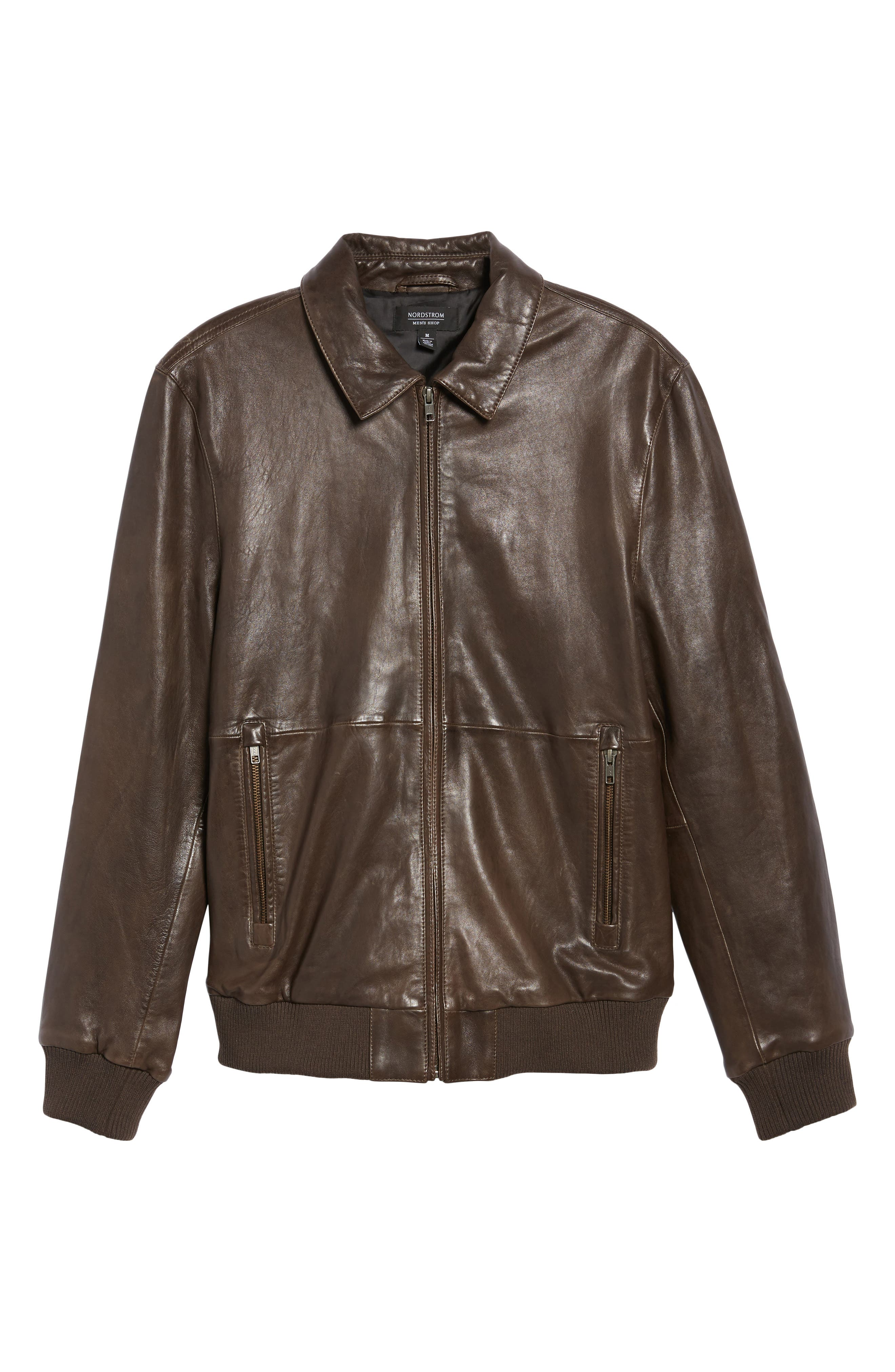 Leather Bomber Jacket,                             Alternate thumbnail 6, color,                             Brown Seal
