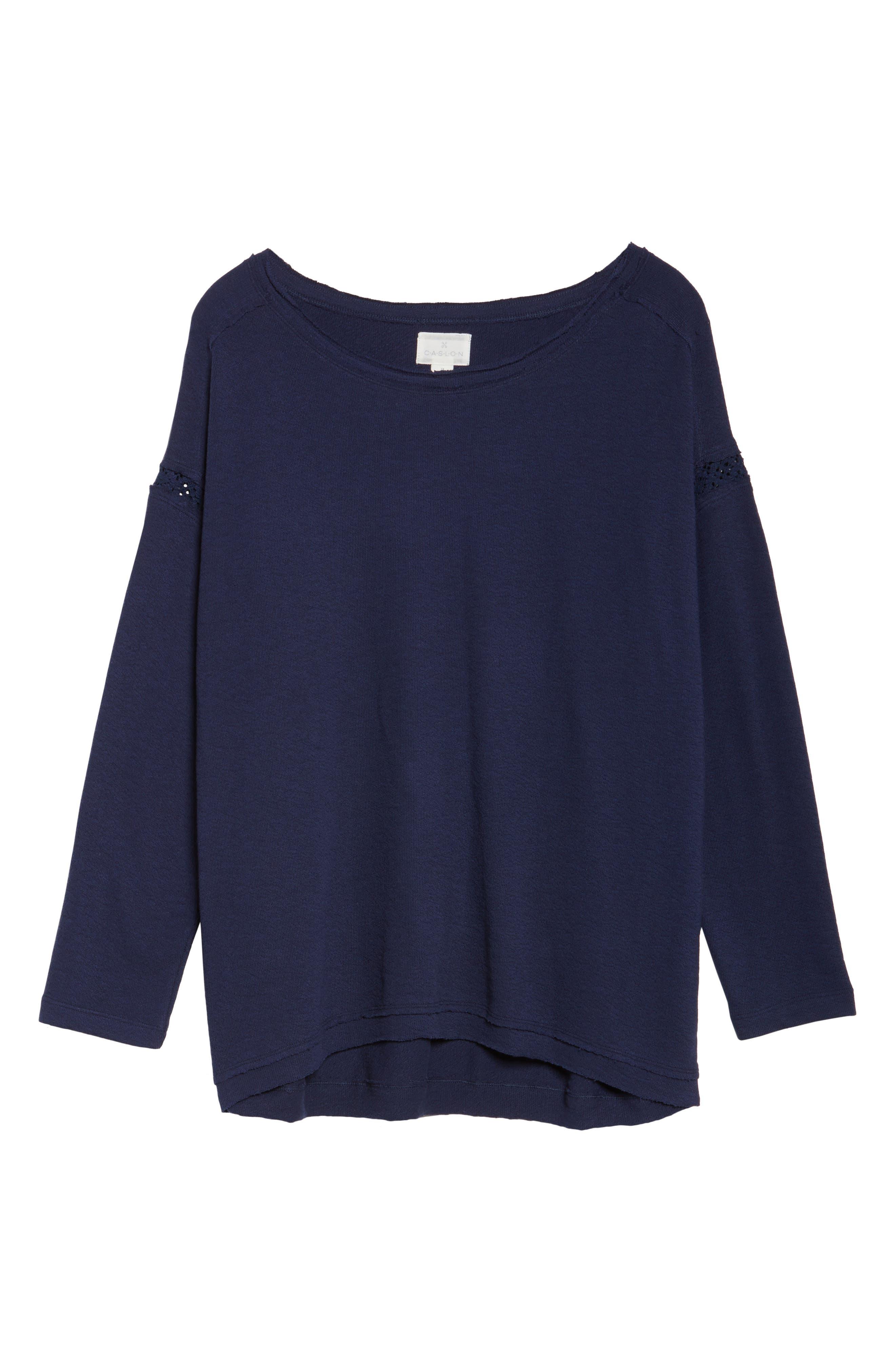 Alternate Image 6  - Caslon Lace Trim Sweatshirt (Plus Size)