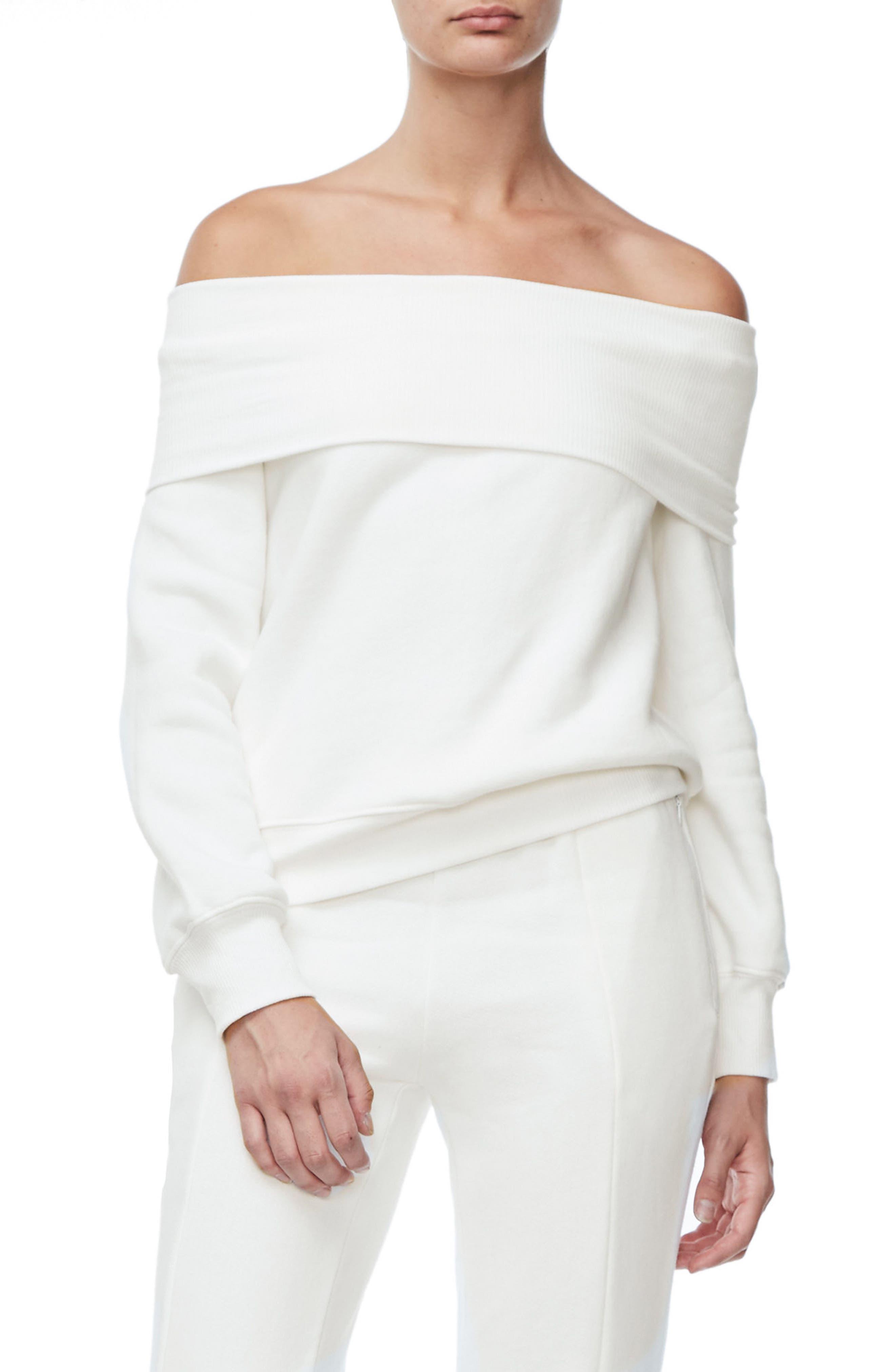 Alternate Image 3  - Good American Good Sweats The Cold Shoulder Sweatshirt (Regular & Plus Size)