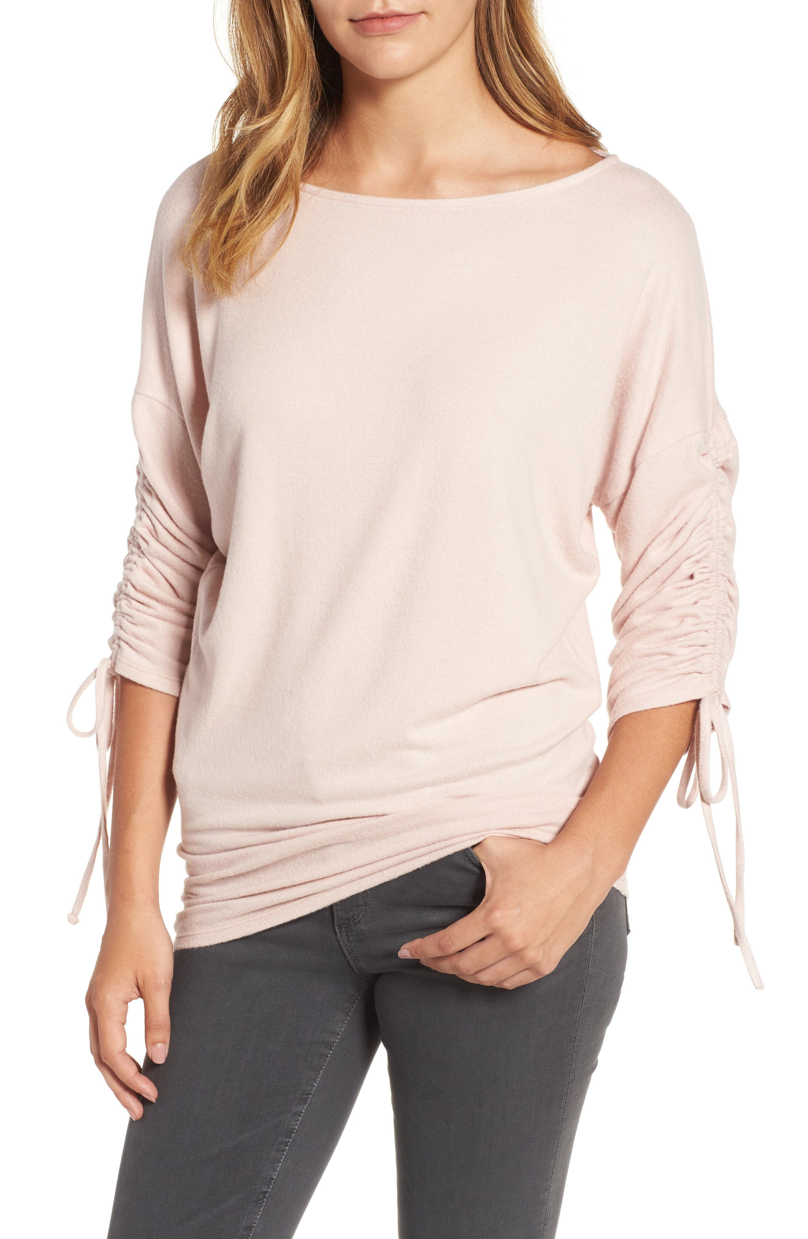 Gibson Tie Sleeve Cozy Fleece Top (Regular & Petite)