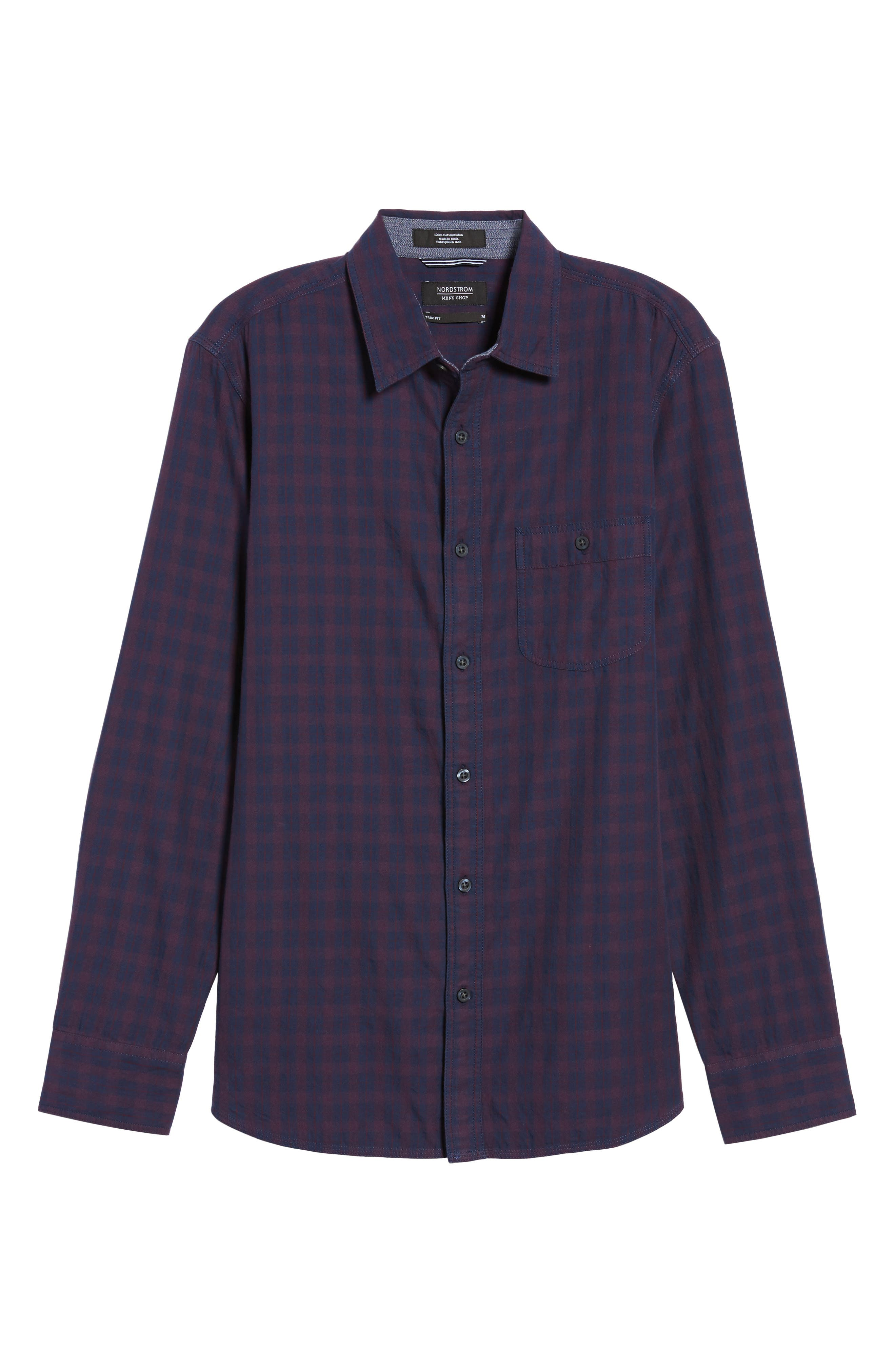 Slim Washed Fit Sport Shirt,                             Alternate thumbnail 6, color,                             Navy Iris Burgundy Stem Check