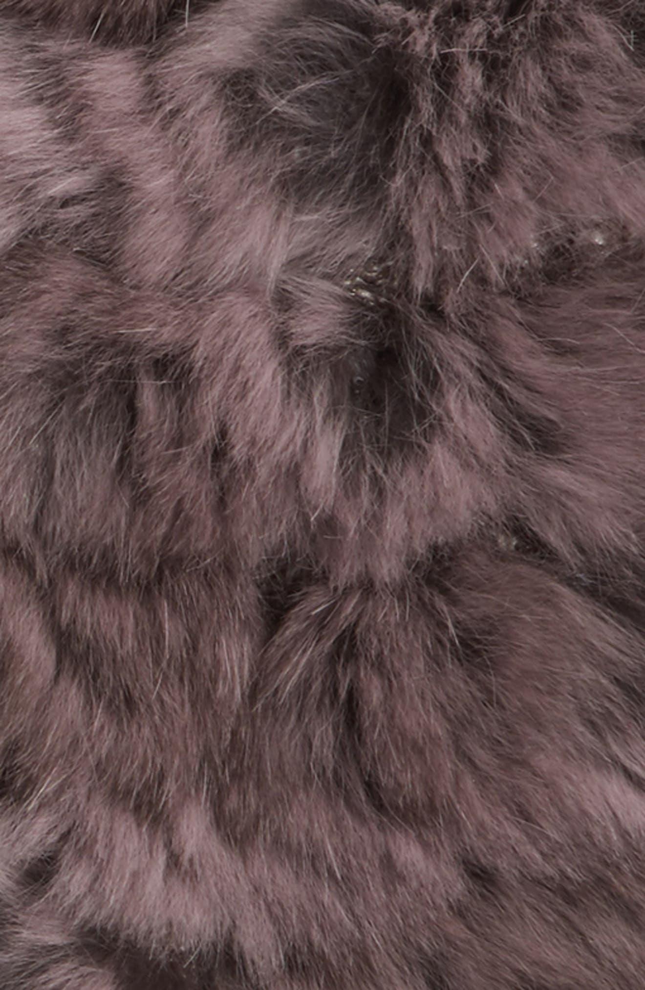 Genuine Rabbit Fur Fingerless Knit Mittens,                             Alternate thumbnail 2, color,                             Dusty Lavender
