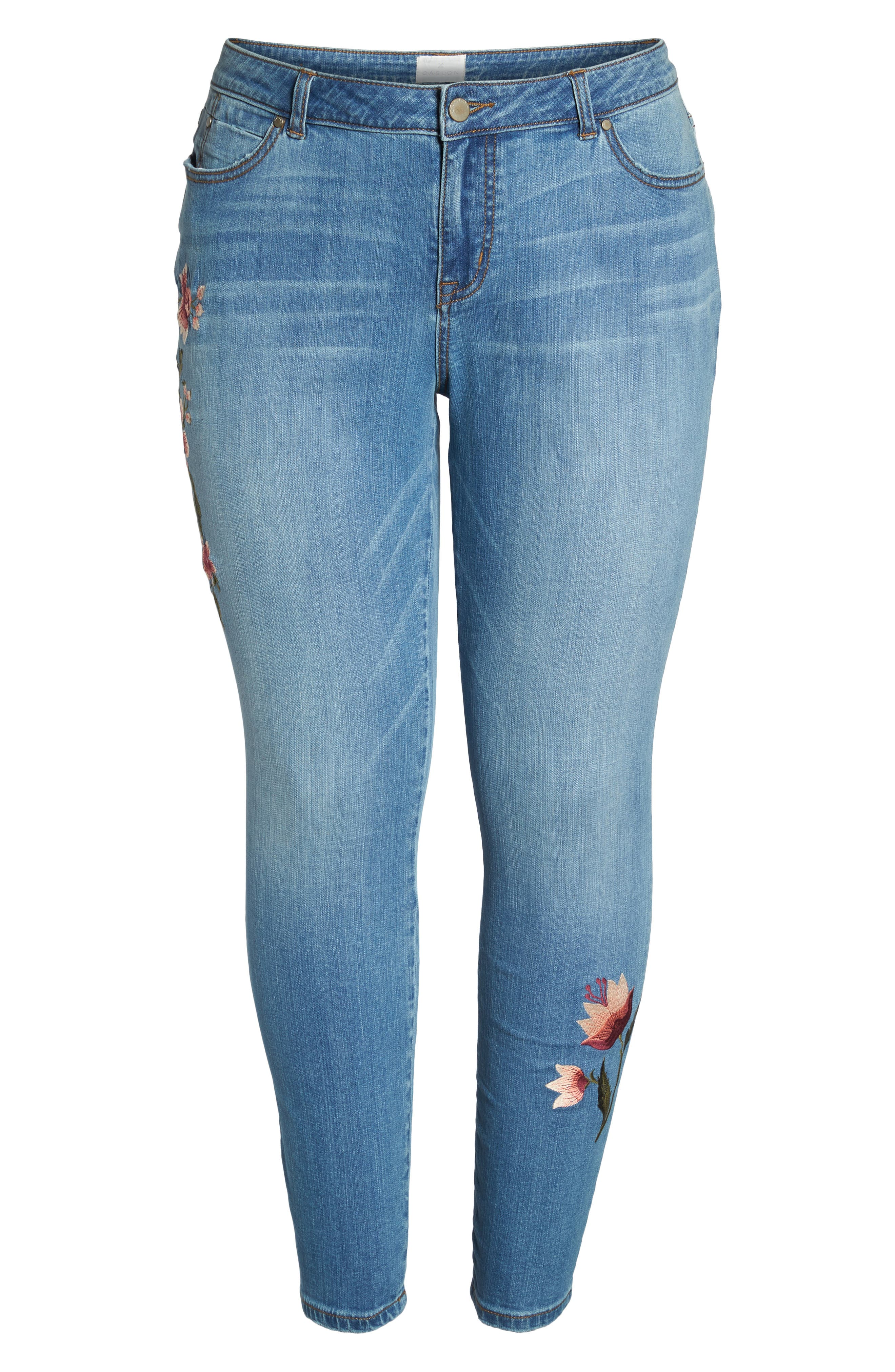 Embroidered Skinny Jeans,                             Alternate thumbnail 7, color,                             Blue Frontier