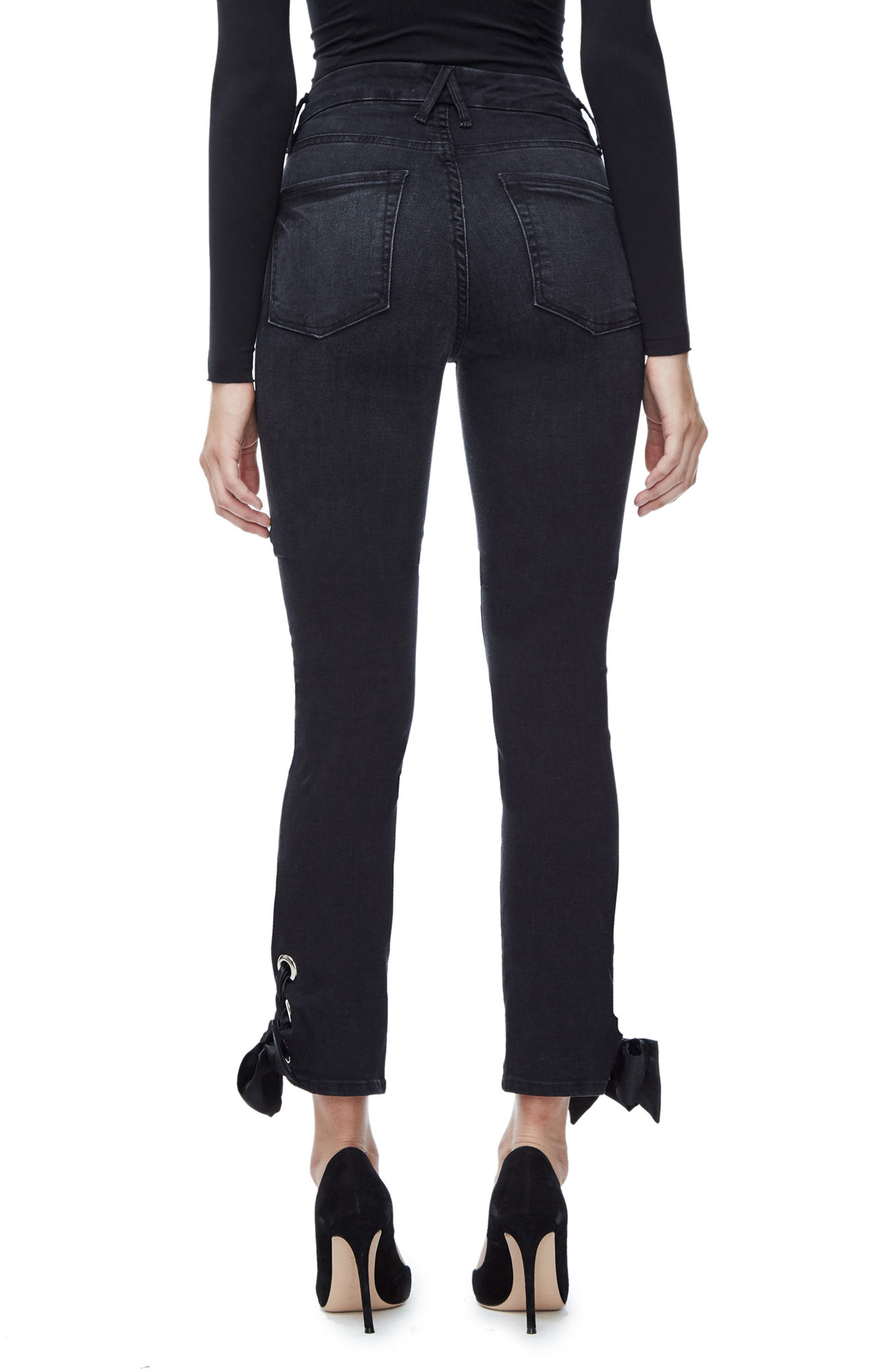 Alternate Image 2  - Good American Good Straight Ankle Lace Skinny Jeans (Black 010) (Extended Sizes)