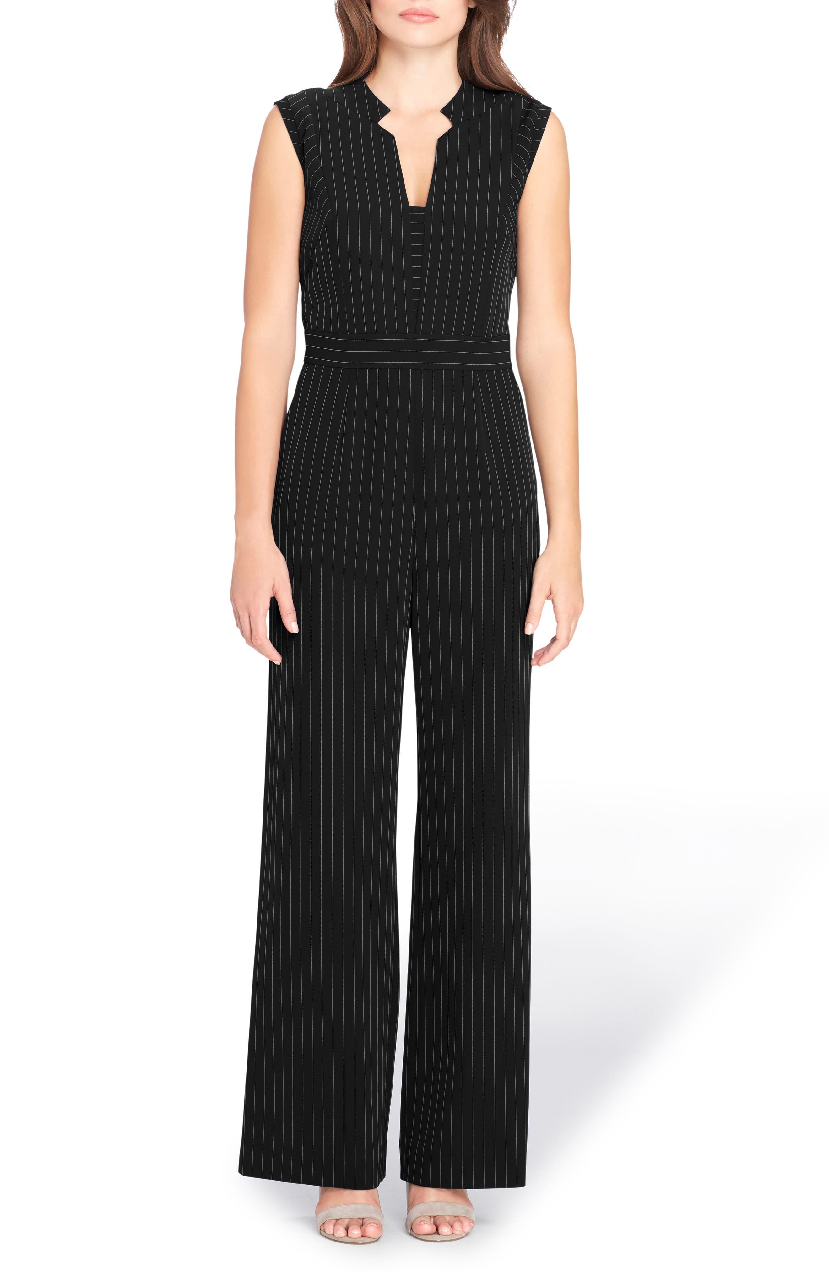 Pinstripe Jumpsuit,                         Main,                         color, Black/ White