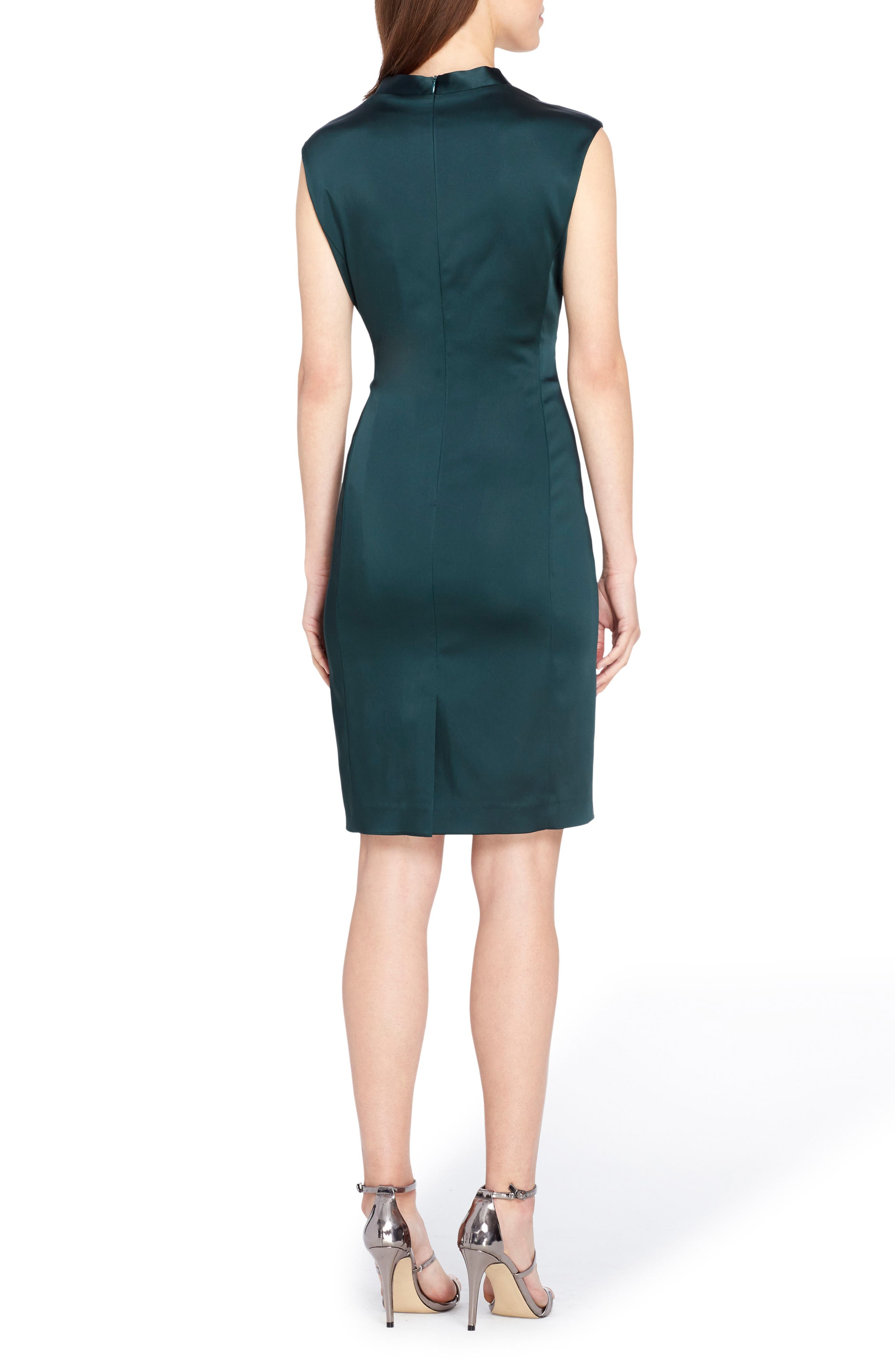 Stretch Satin Sheath Dress,                             Alternate thumbnail 2, color,                             Forest Green