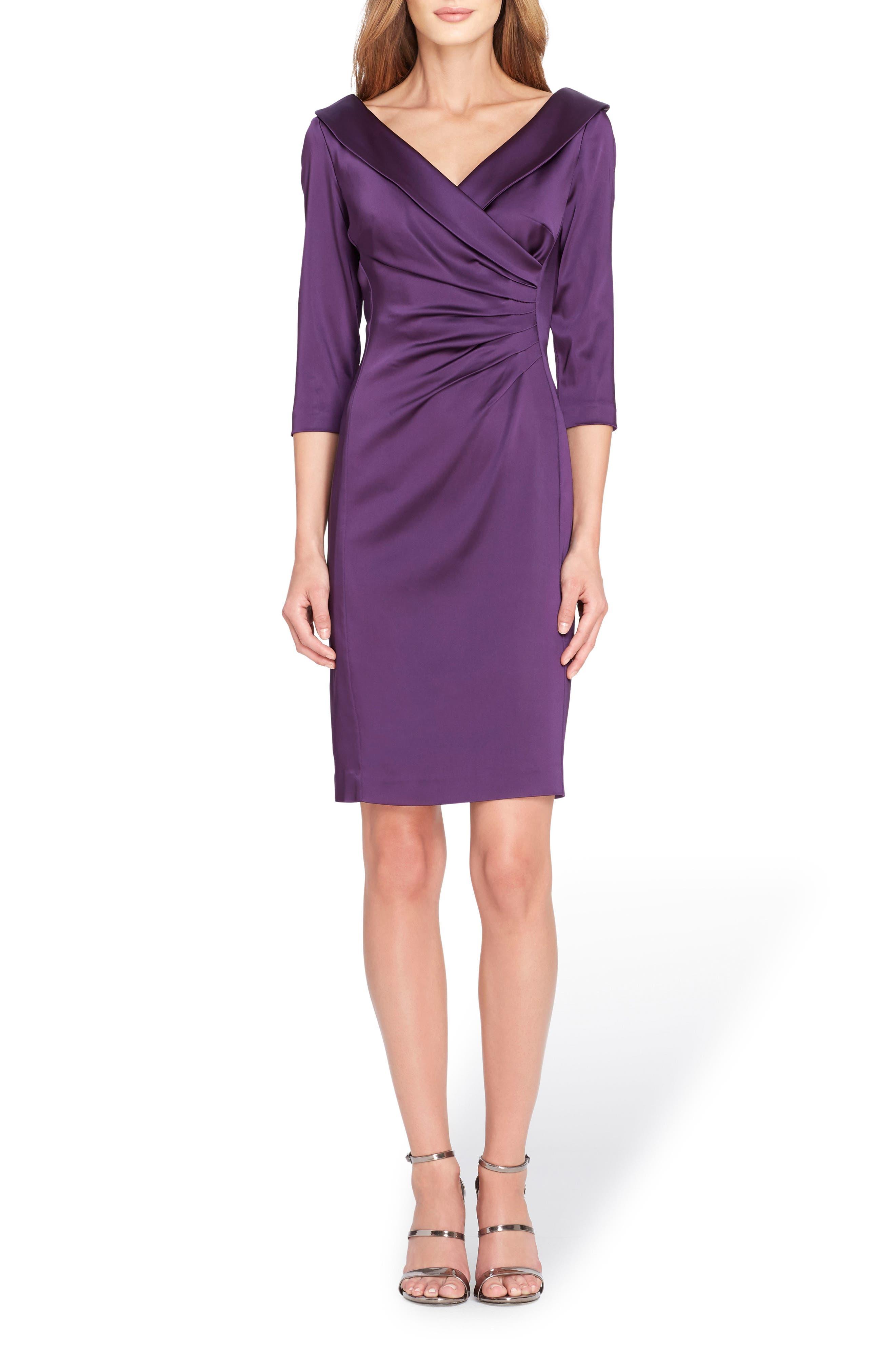 Ruched Stretch Satin Sheath Dress,                         Main,                         color, Plum