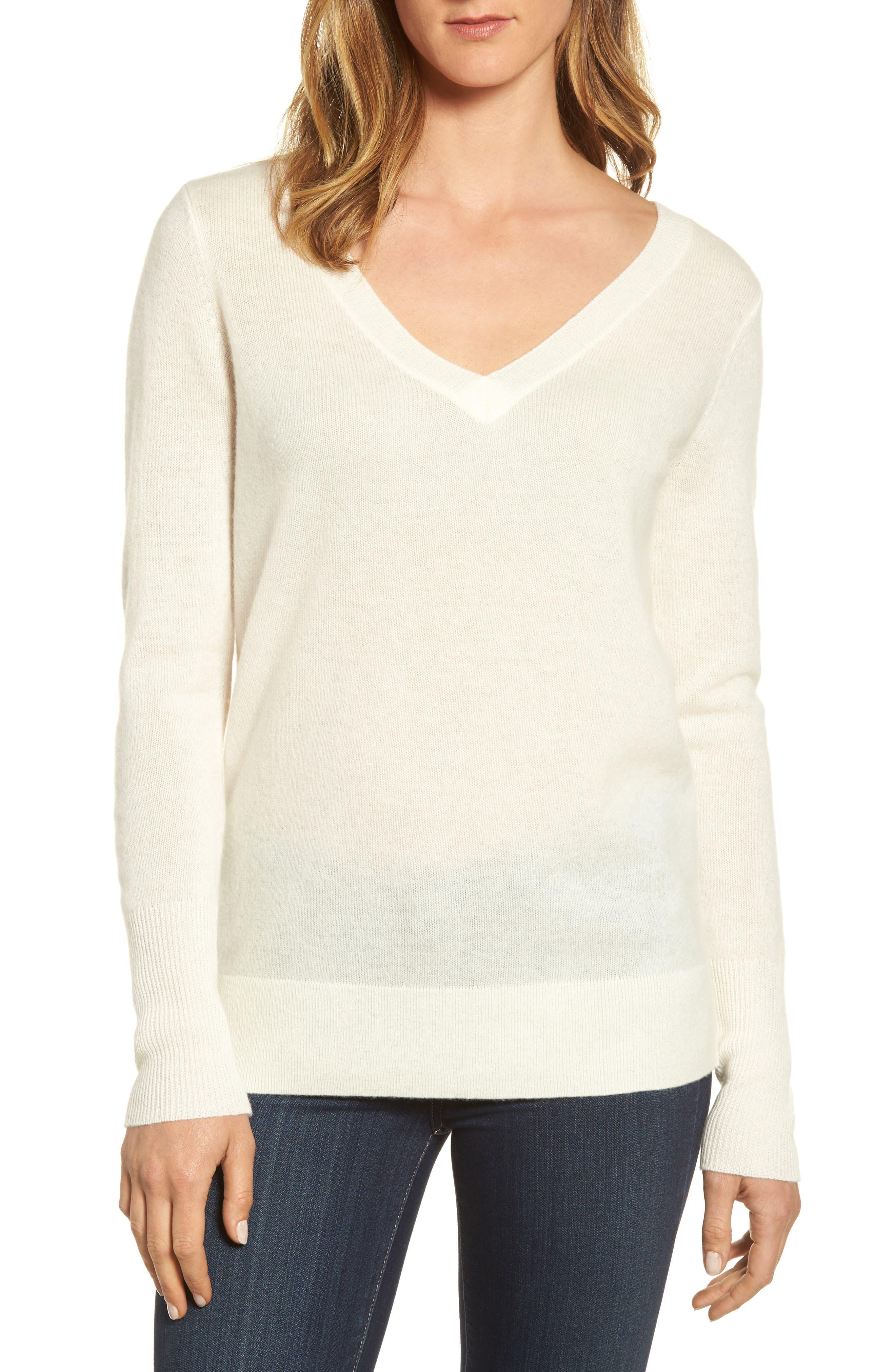 Halogen® V-Neck Cashmere Sweater (Regular & Petite)