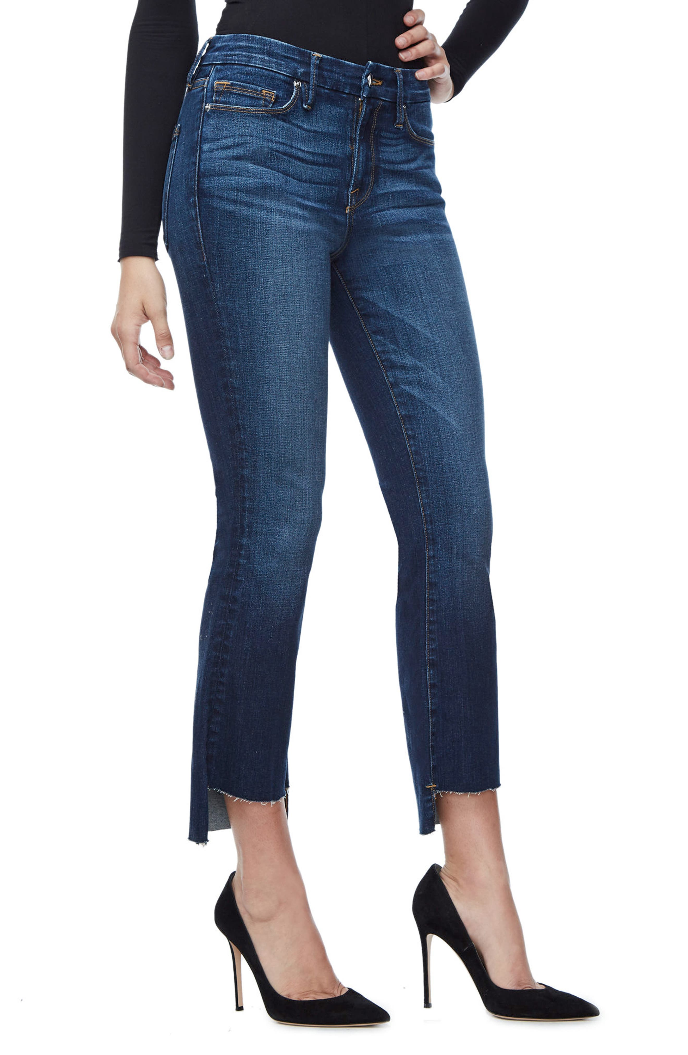 Alternate Image 3  - Good American Good Boot Crop Step Hem Bootcut Jeans (Blue 091) (Extended Sizes)