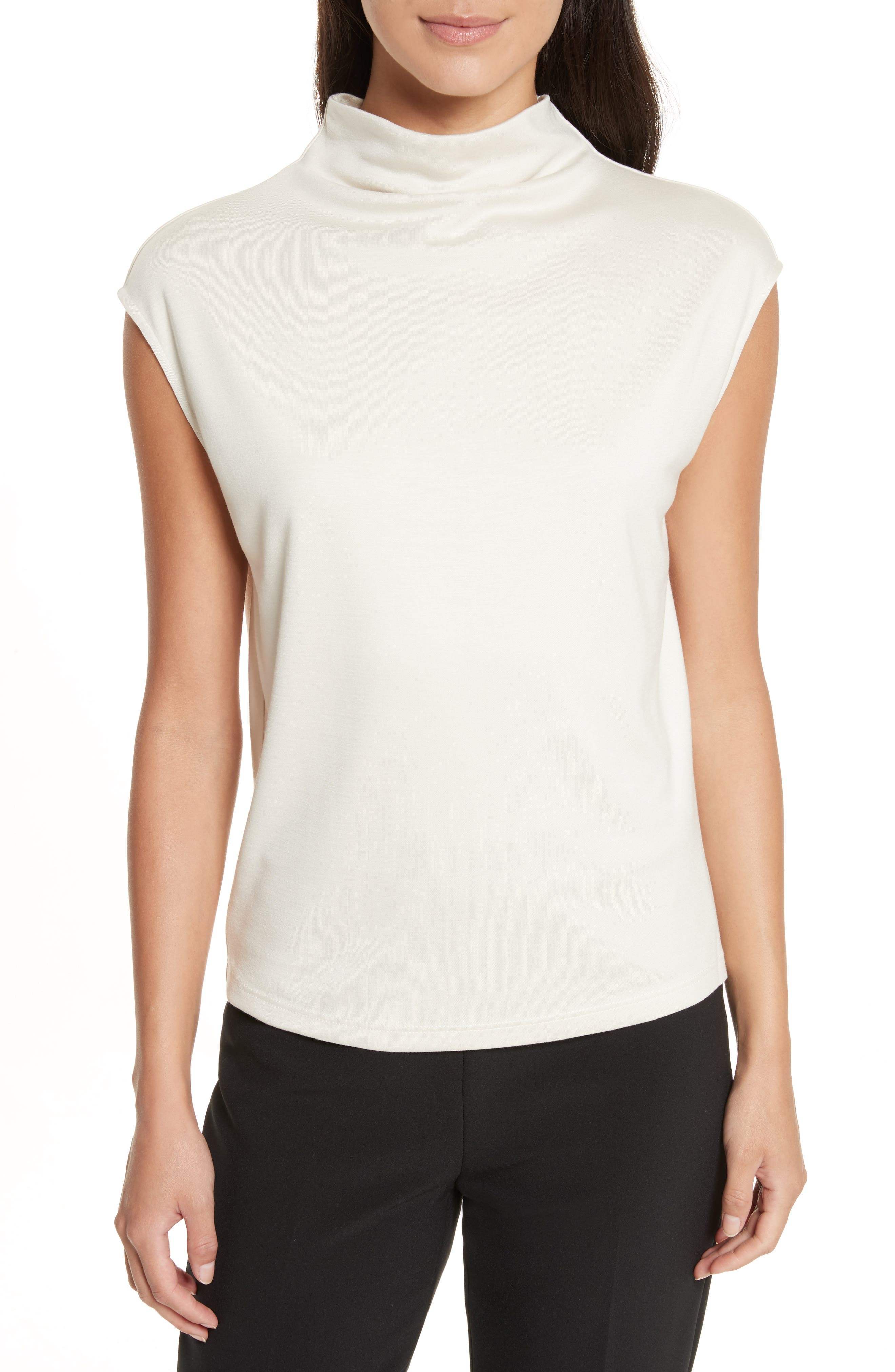 THEORY Draped Cowl Neck Stretch Jersey Top