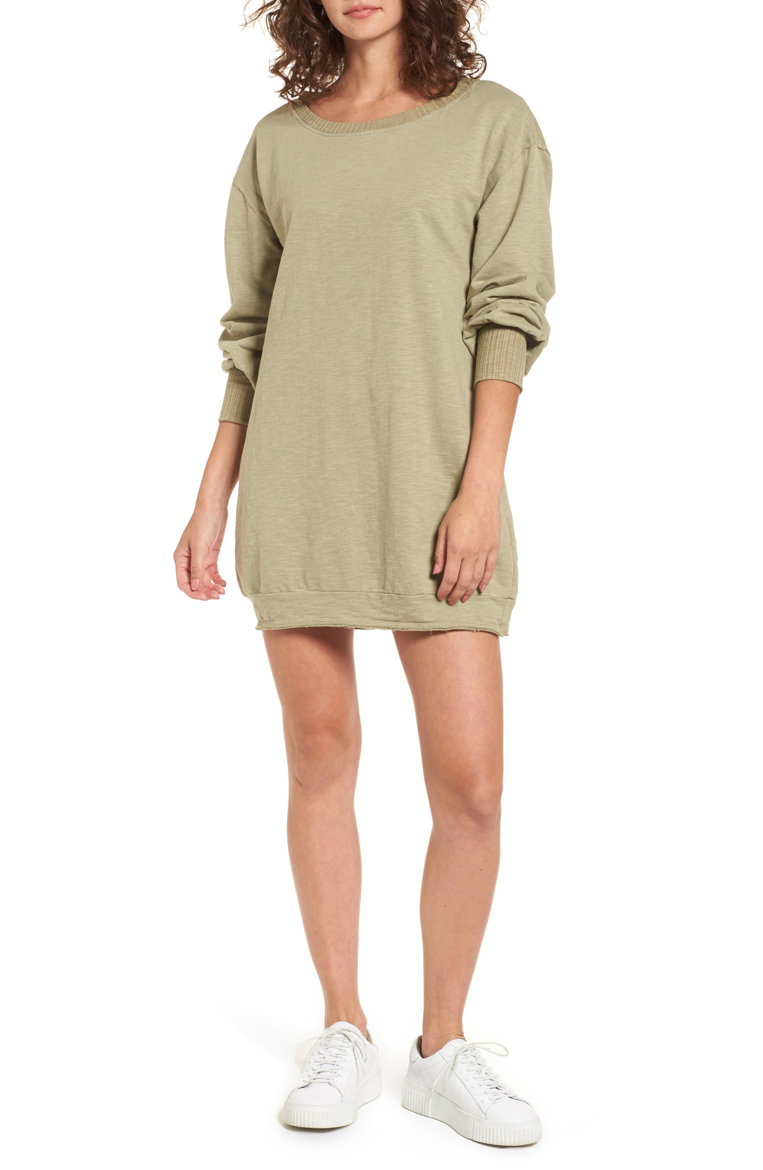 Mountains Fade Sweatshirt Dress,                             Main thumbnail 1, color,                             Sage