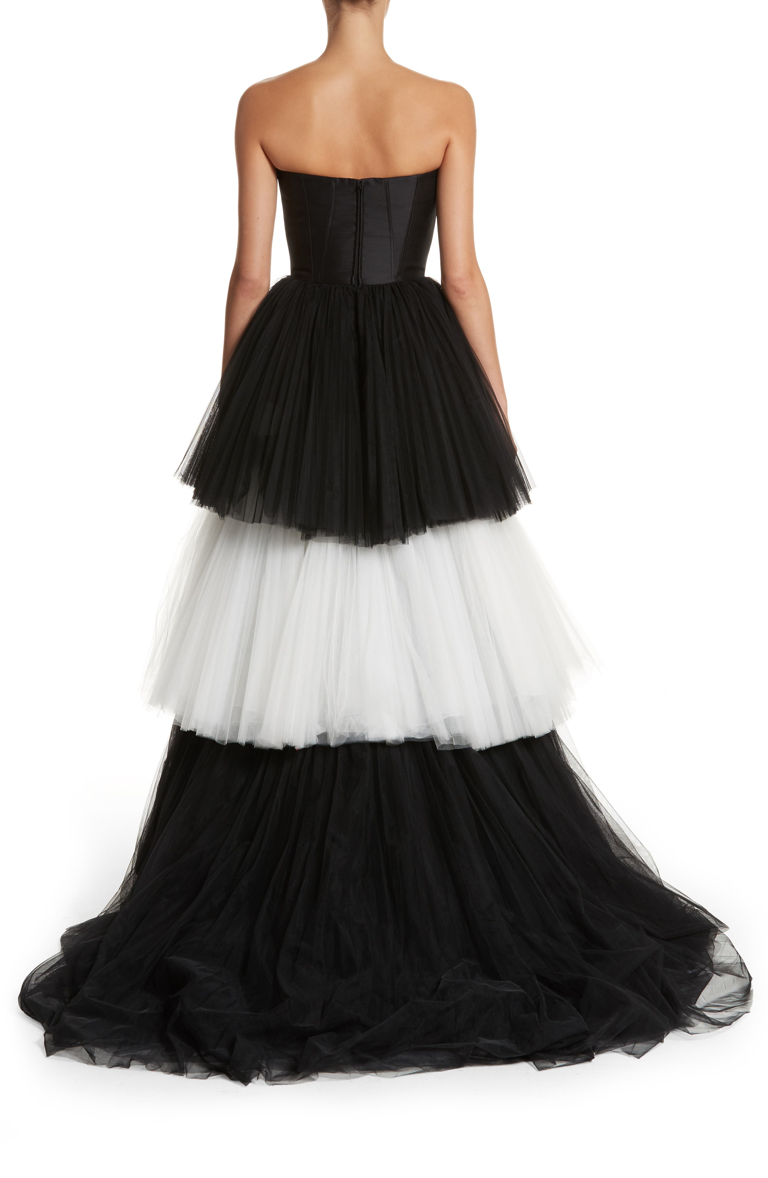 Strapless Layered Tulle Gown,                             Alternate thumbnail 2, color,                             Black/White