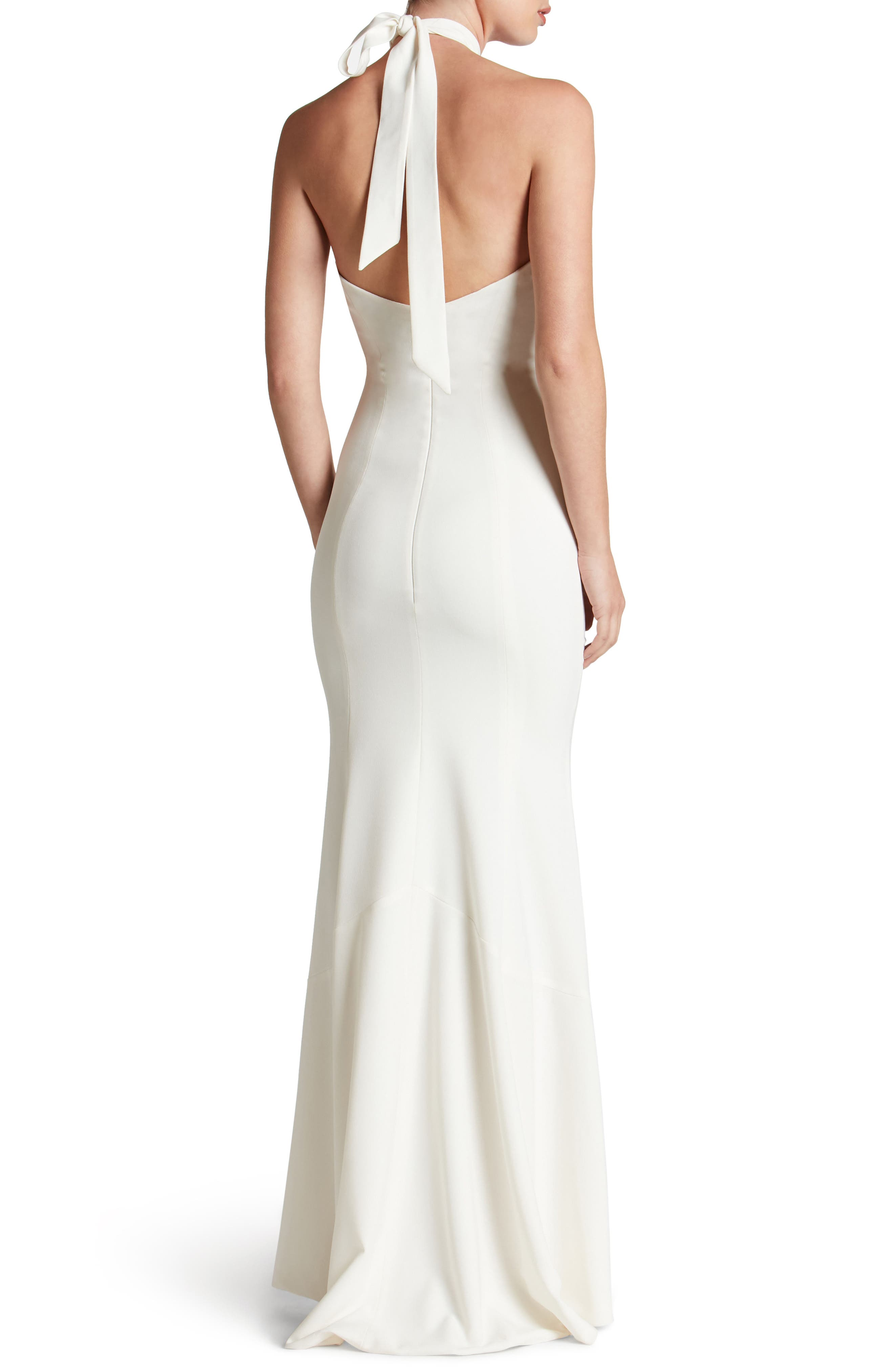 Taylor Crepe Halter Gown,                             Alternate thumbnail 2, color,                             Off White
