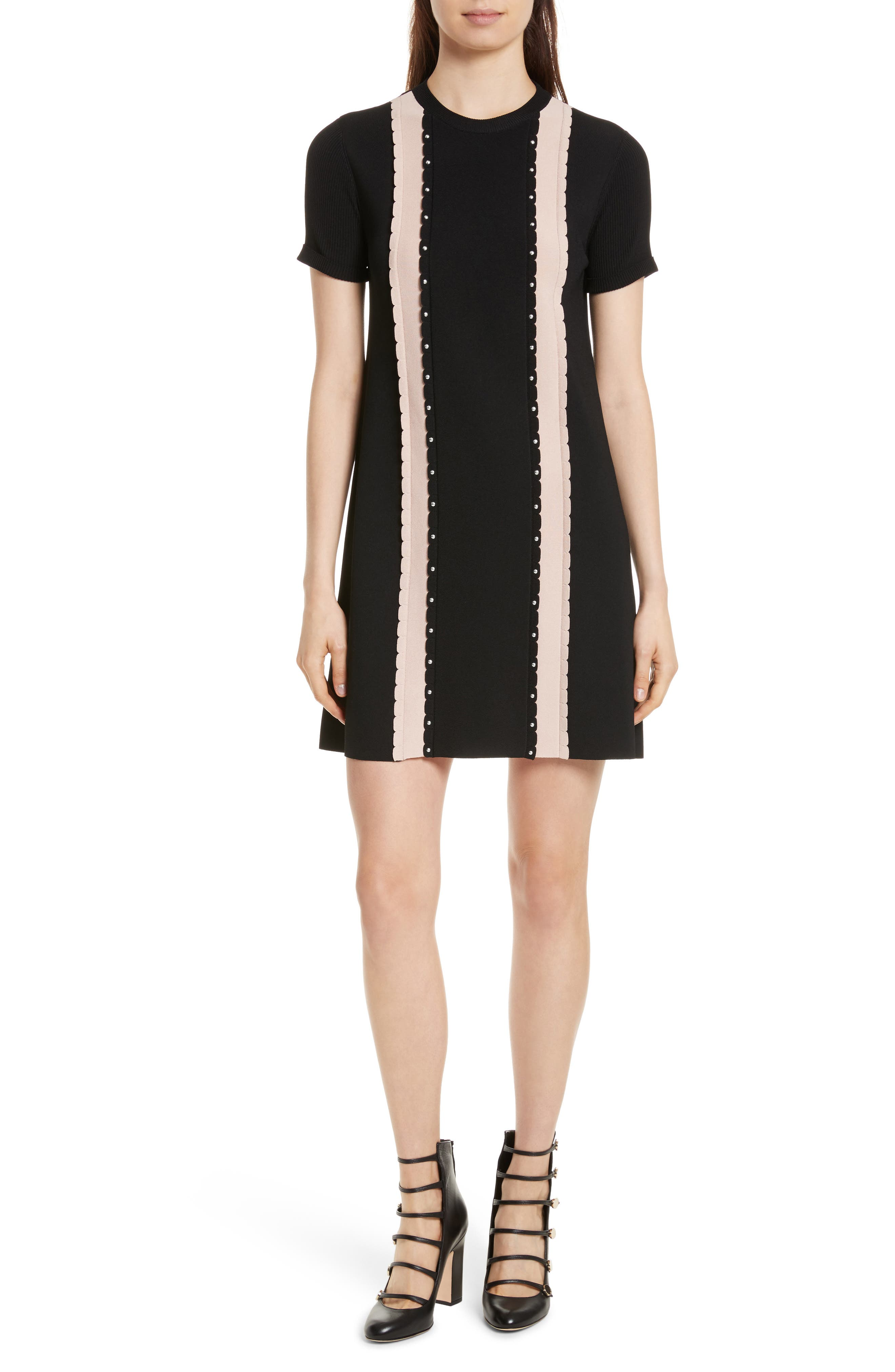 Scallop Stretch Knit Dress,                             Main thumbnail 1, color,                             Nero/ Nudo