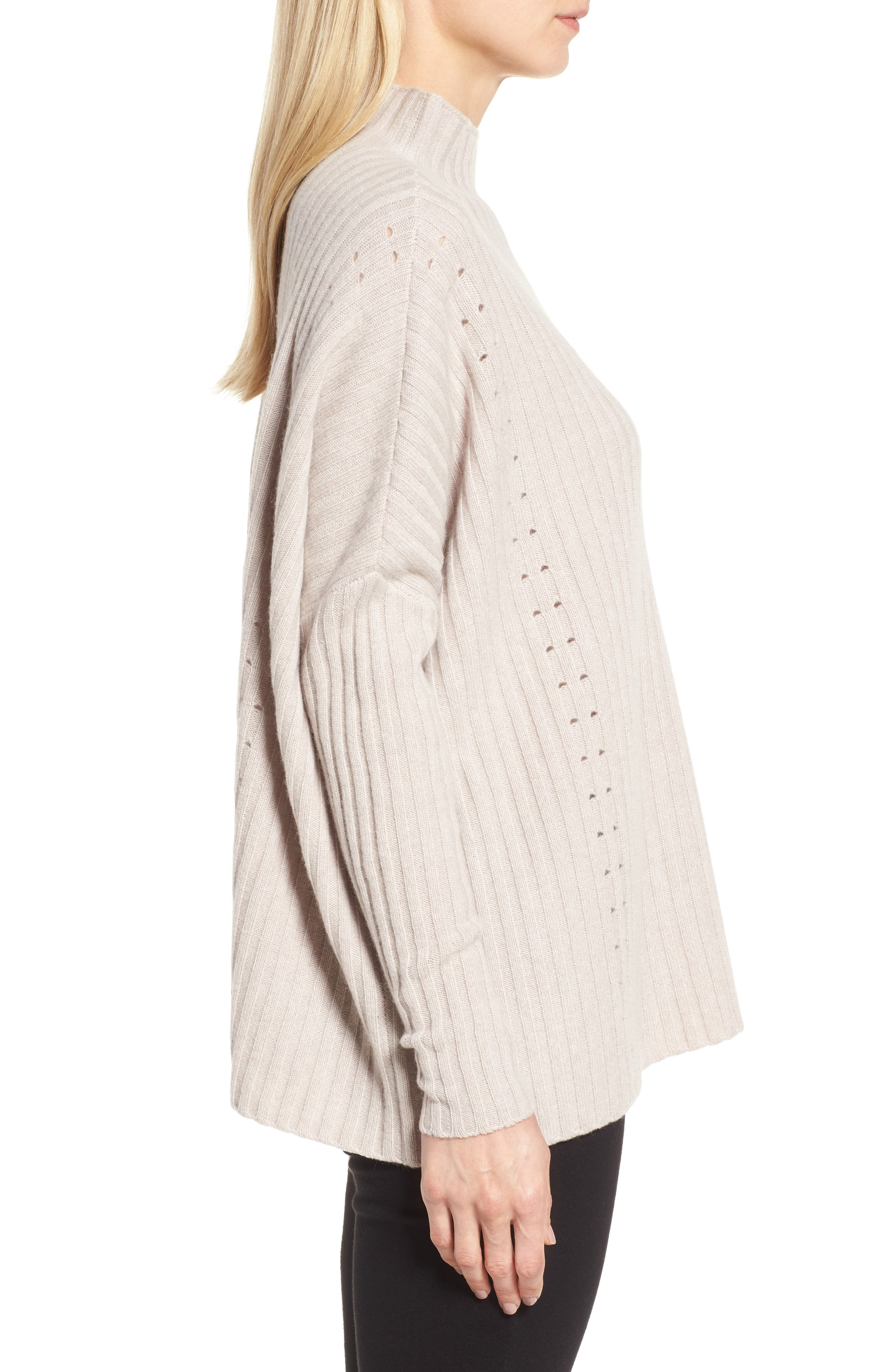 Boxy Ribbed Cashmere Sweater,                             Alternate thumbnail 3, color,                             Beige Pumice Heather