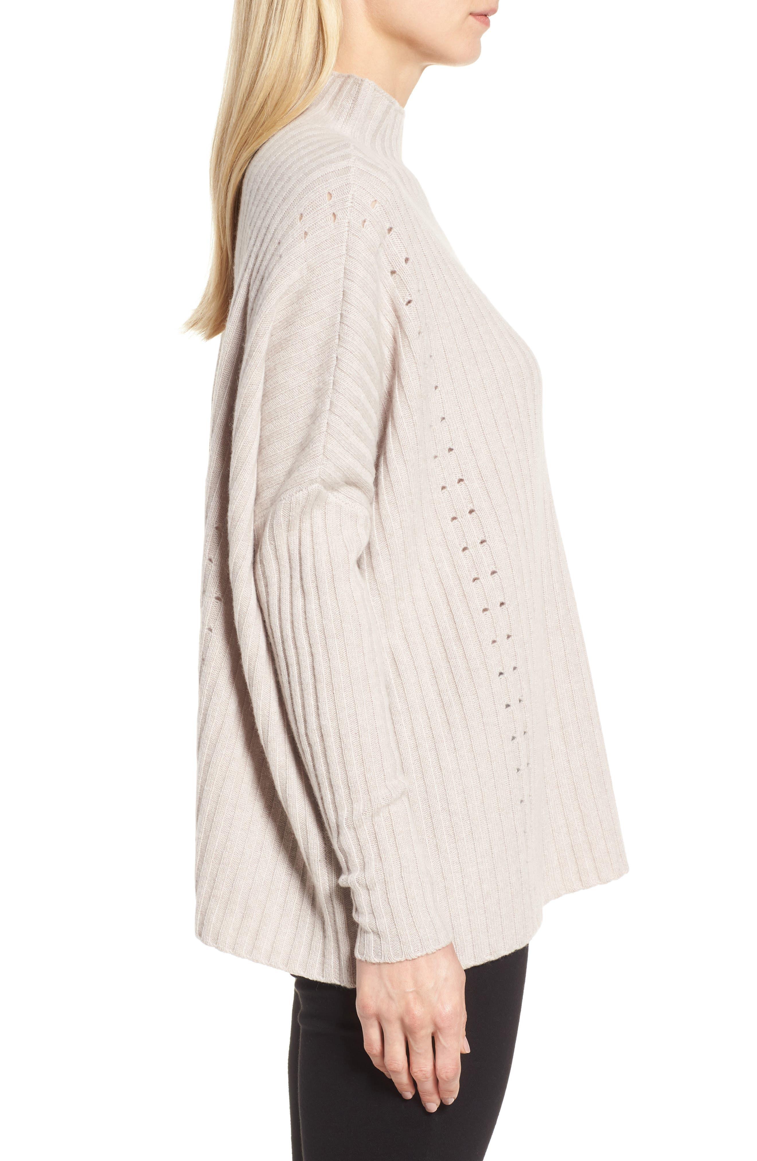 Alternate Image 3  - Nordstrom Signature Boxy Ribbed Cashmere Sweater