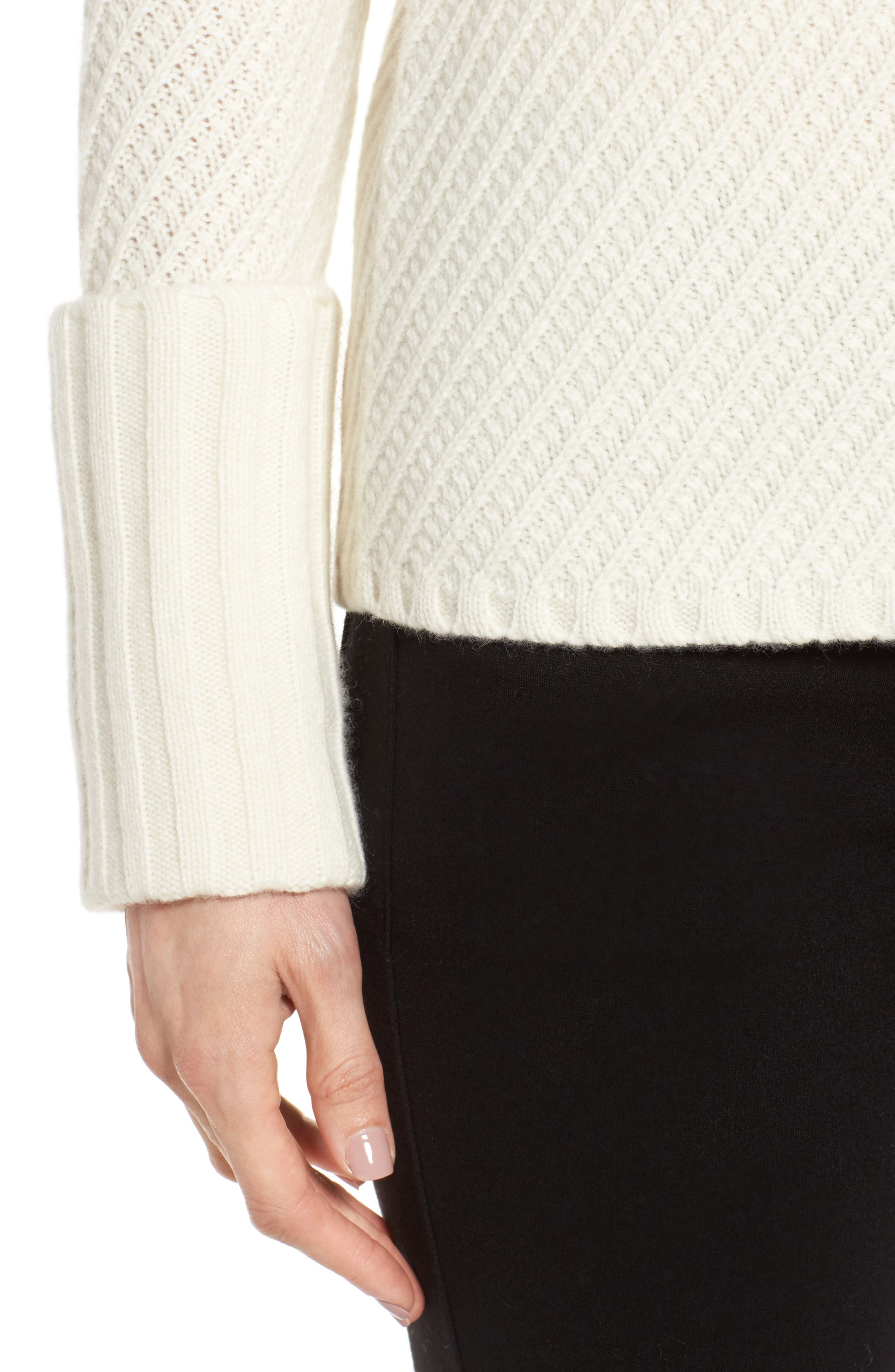 Textured Cashmere Sweater,                             Alternate thumbnail 4, color,                             Ivory Soft