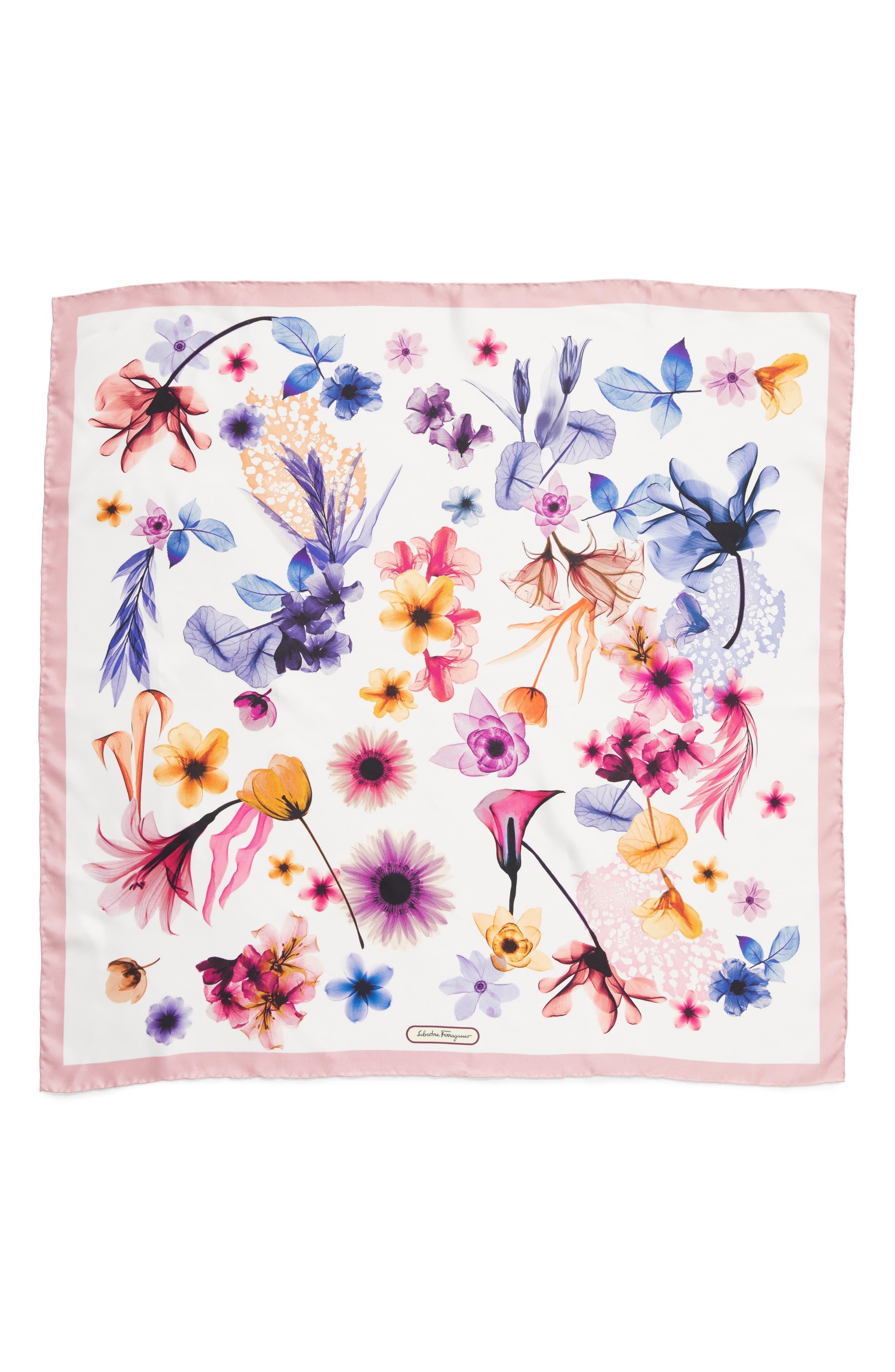 Silk Square Scarf,                         Main,                         color, F.Cipria