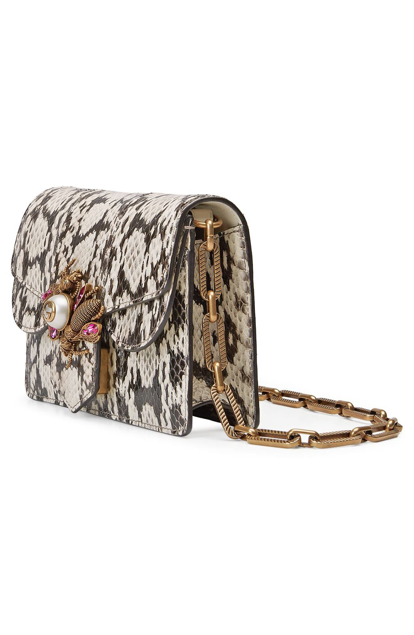 Alternate Image 4  - Gucci Mini Broadway Bee Genuine Snakeskin Shoulder Bag
