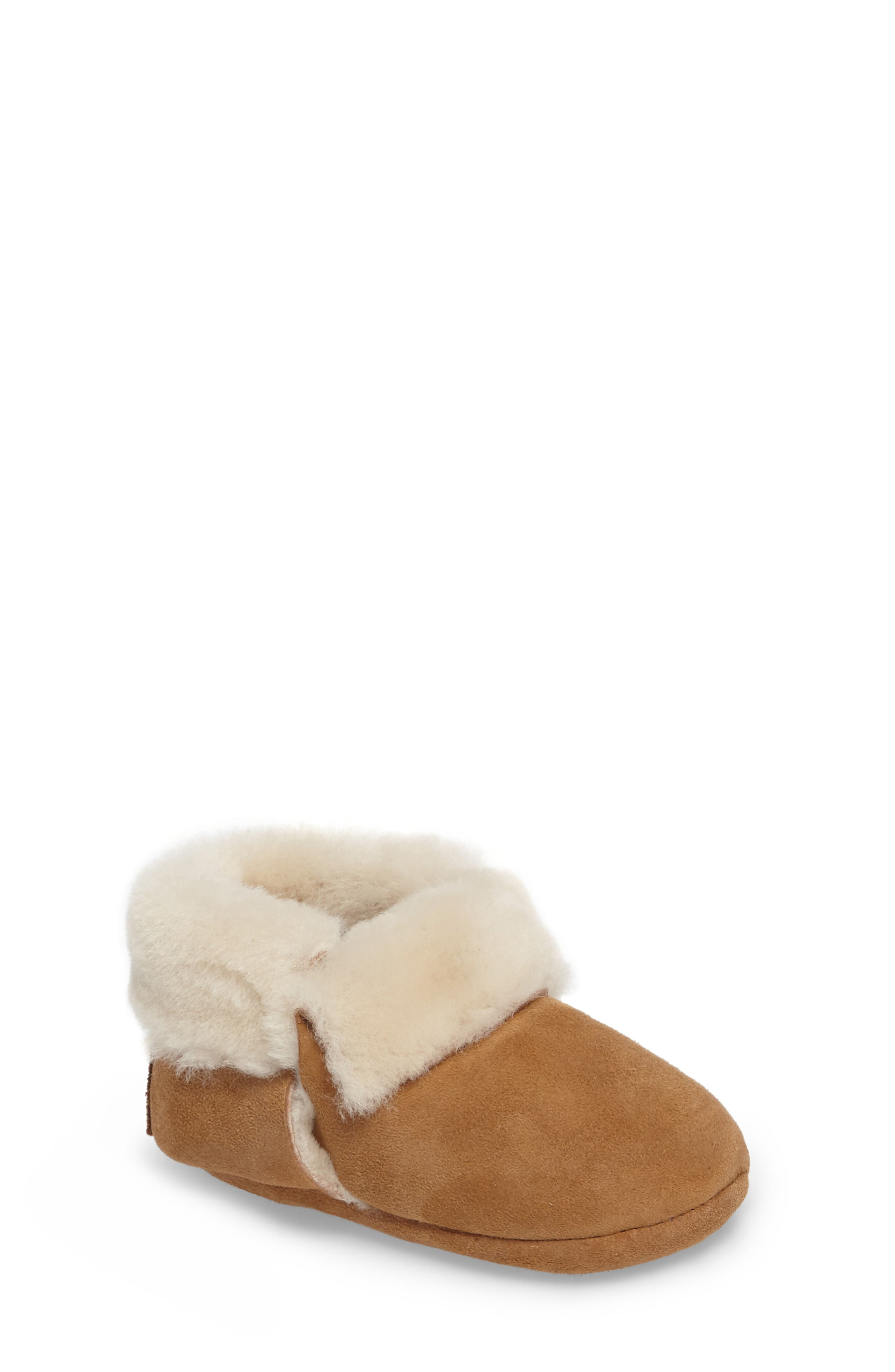 Solvi Genuine Shearling Low Cuffed Bootie,                             Main thumbnail 1, color,                             Chestnut