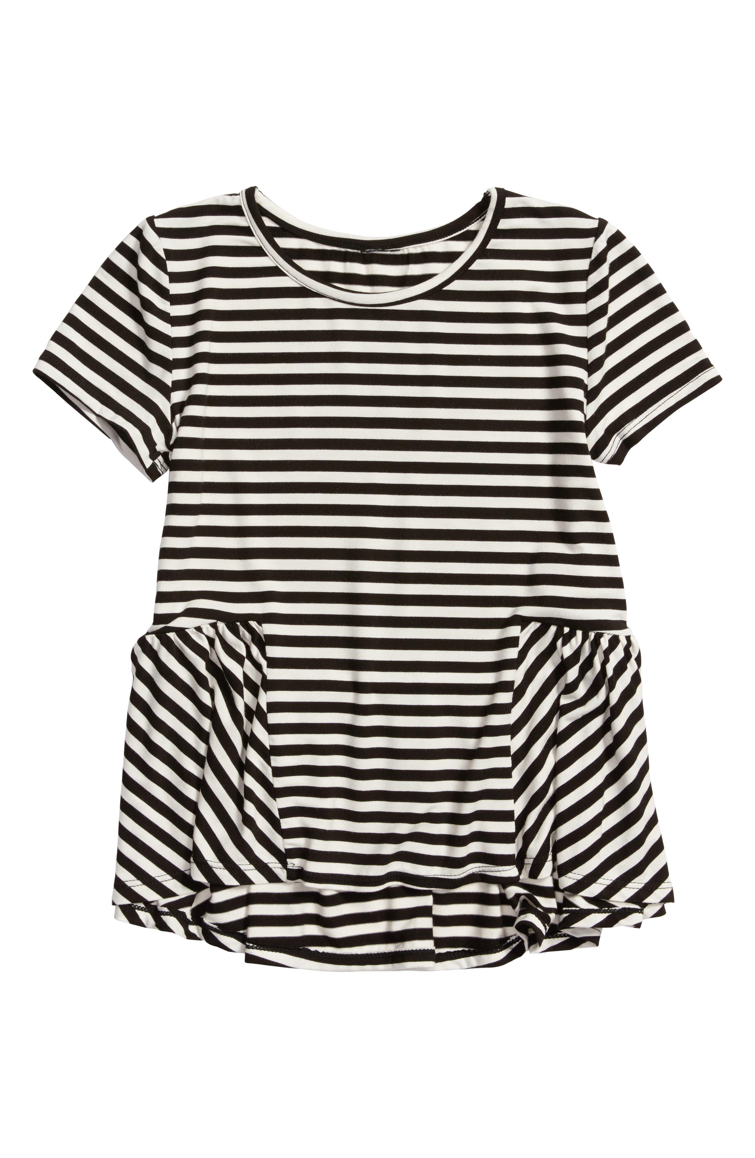 Peplum Tee,                             Main thumbnail 1, color,                             Black/ White Stripe