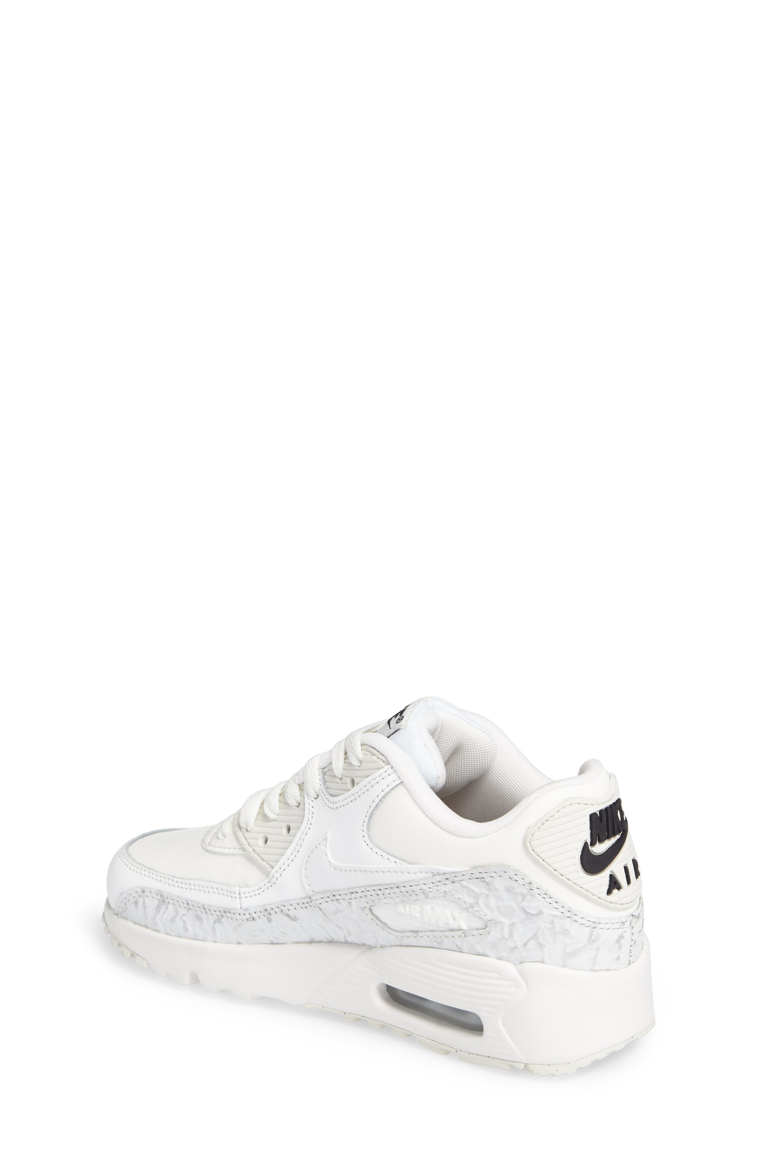 Air Max 90 Leather Sneaker,                             Alternate thumbnail 2, color,                             Summit White/ Black