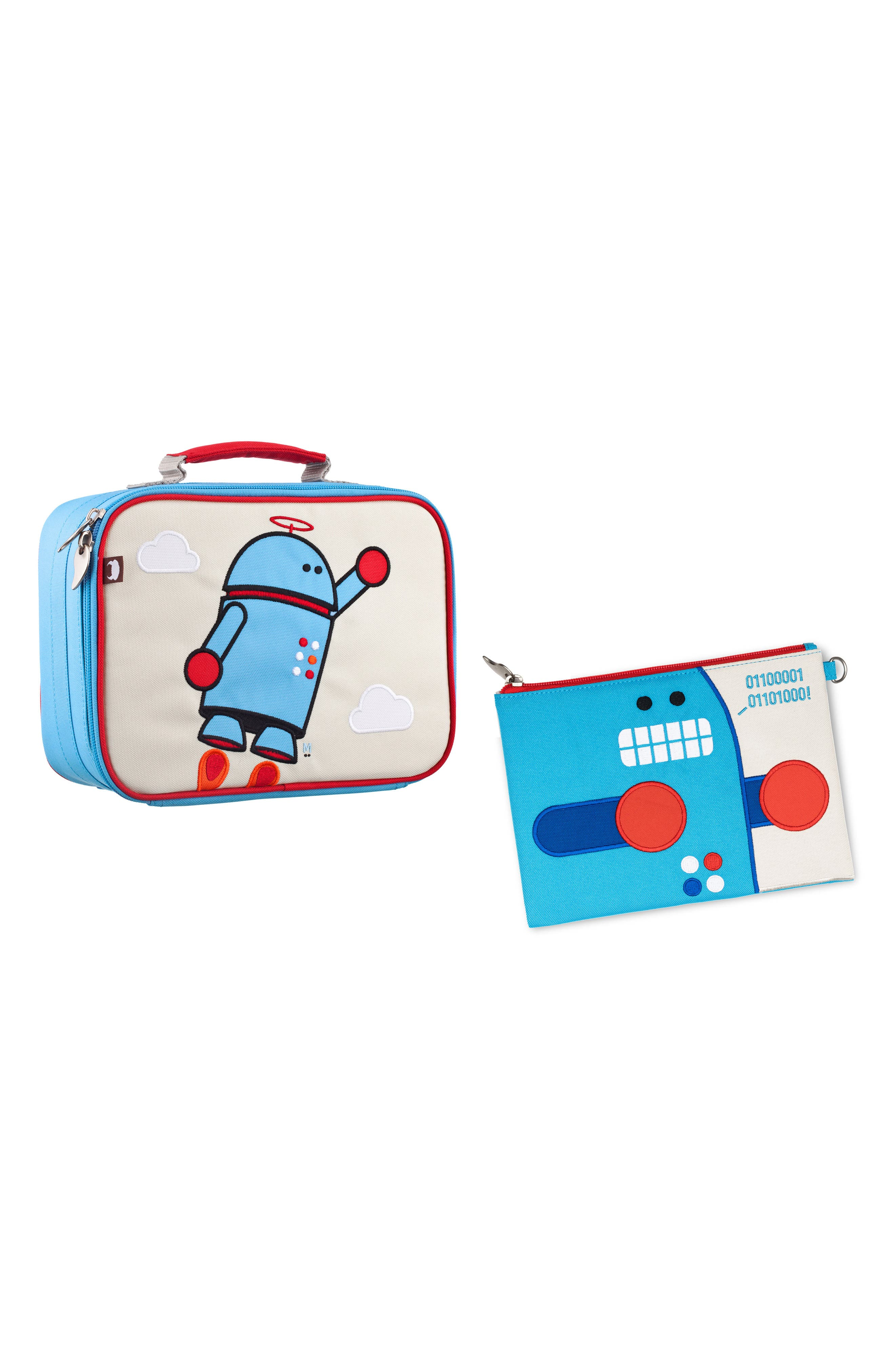 Lunch Box & Travel Pouch Set,                         Main,                         color, Alexander And Pixel The Robots