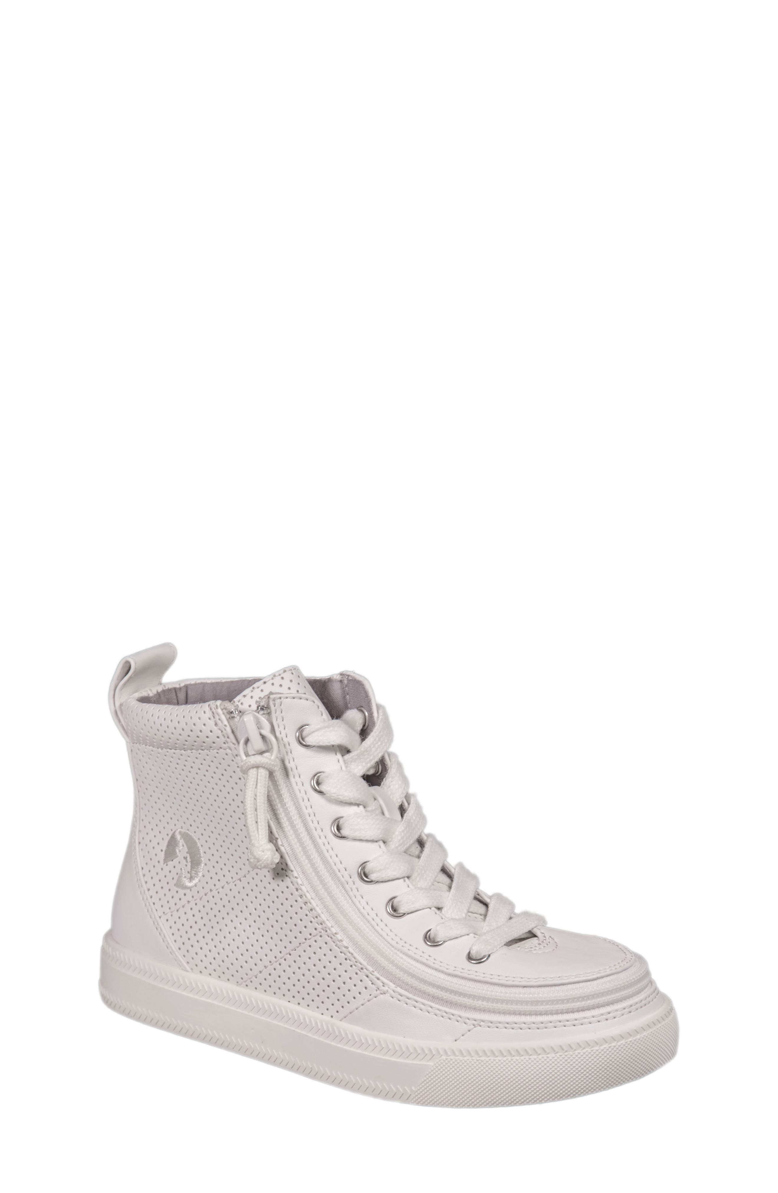 Zip Around Perforated High Top Sneaker,                         Main,                         color, White Perforated